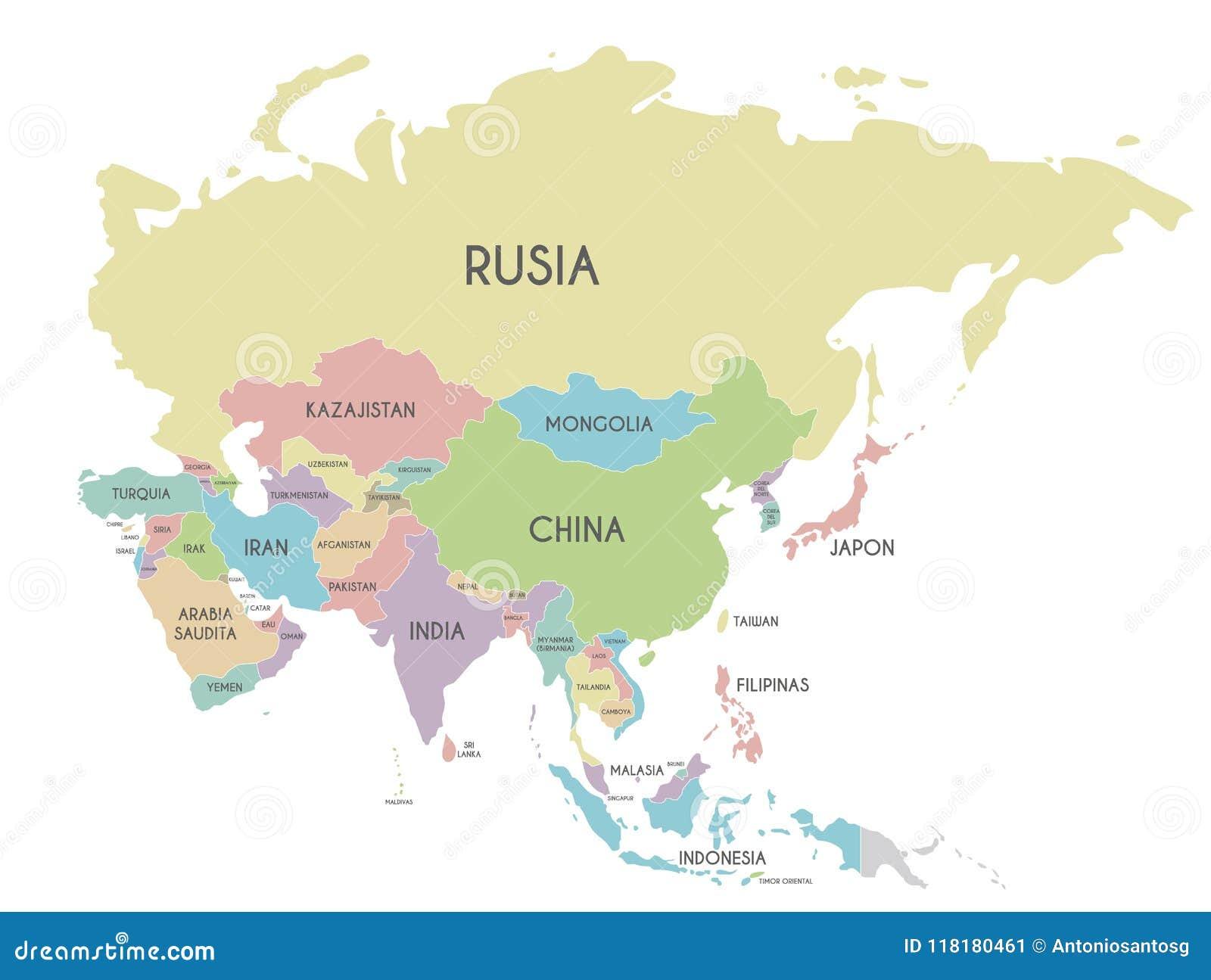 Carte Asie Politique Pays.Illustration Politique De Vecteur De Carte De L Asie D