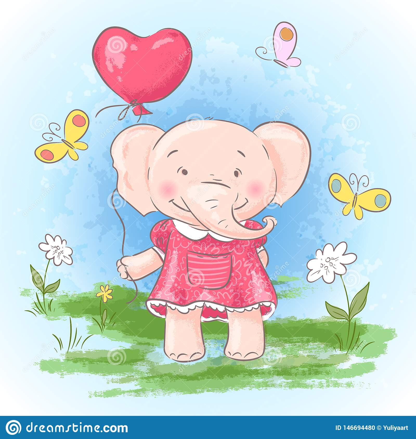 Illustration postcard cute baby elephant with a balloon, flowers and butterflies. Print on clothes and children`s room