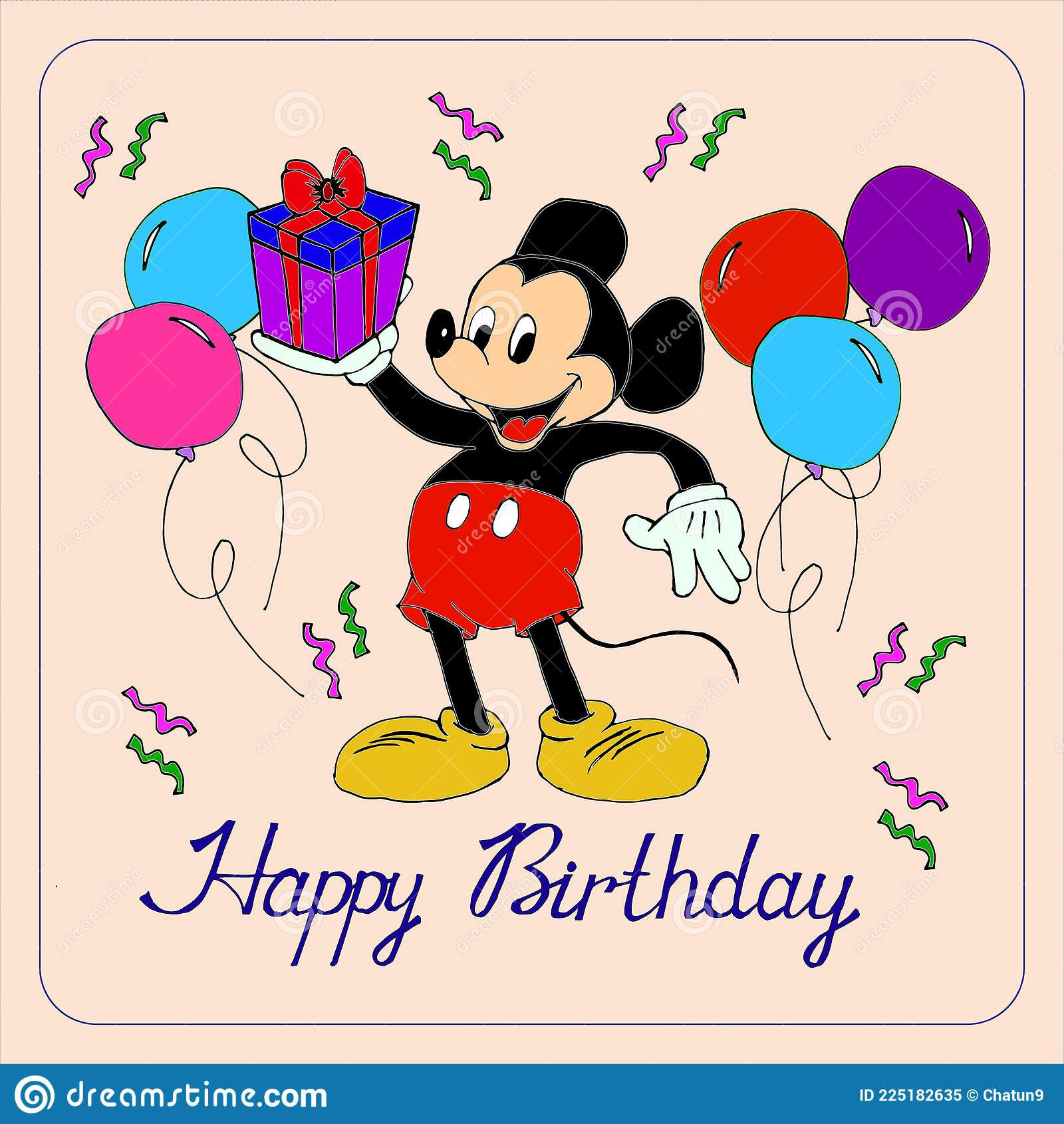 Illustration, Postcard, Mickey Mouse with a Gift Congratulates Happy  Birthday, Minimalism Design Stock Vector - Illustration of congratulates,  cartoon: 225182635