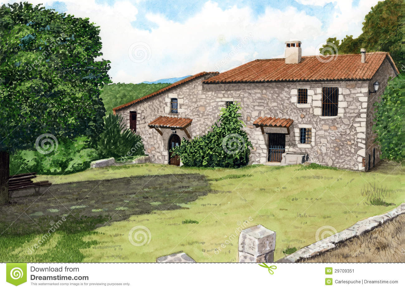 Maison en pierre image stock image 29709351 for Aquarelle maison