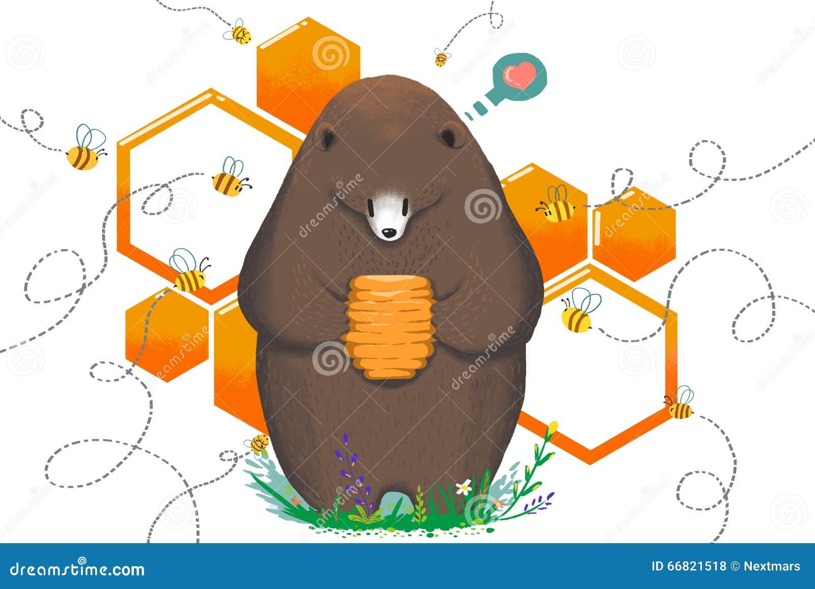 Illustration pour des enfants : Mangez par des abeilles de mal ou ne pas manger L ours obtiennent le bonbon Honey Hive et hésiten