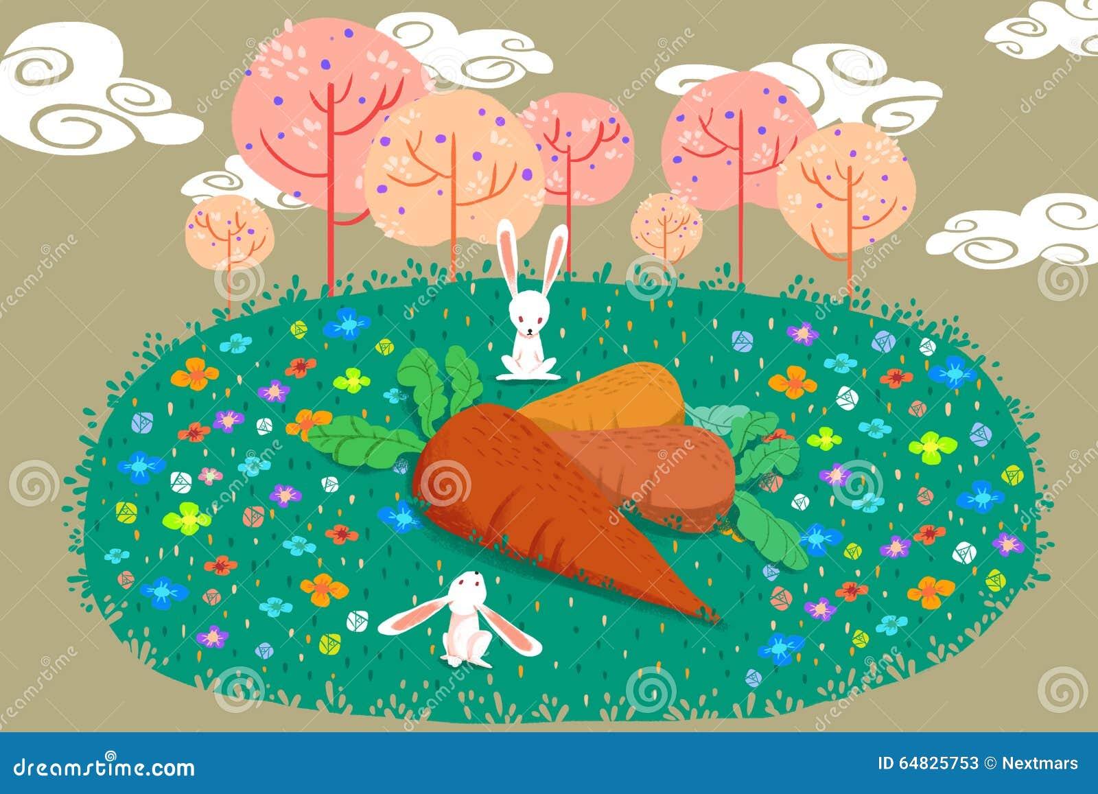 Illustration pour des enfants : Qu allons-nous faire avec le ce les carottes énormes ? Les lapins confus