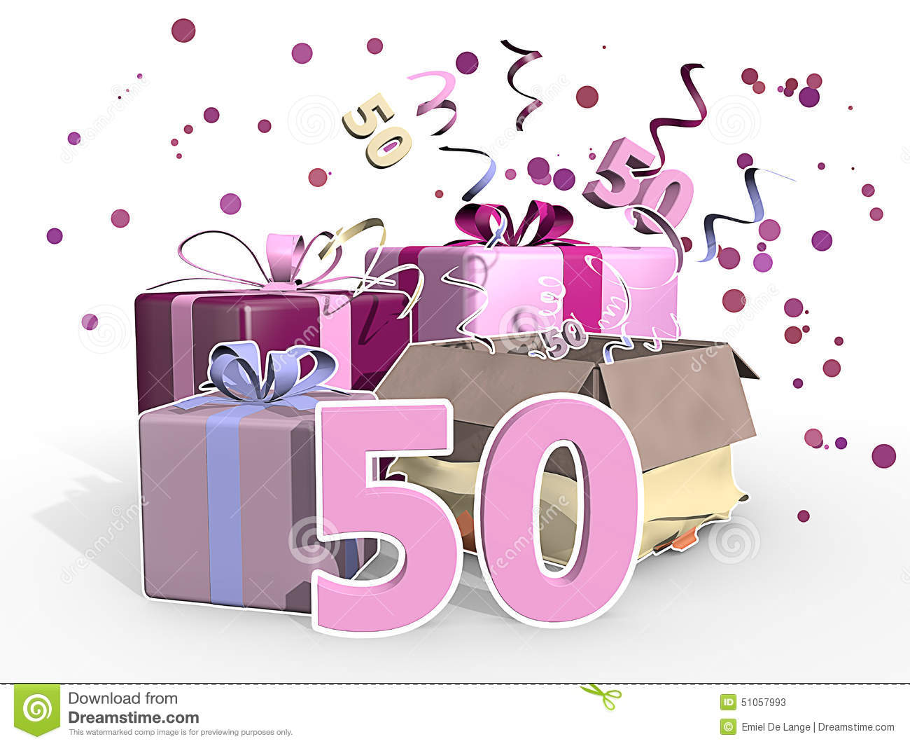An Illustration Of Presents And Pink Confetti For A Fifty Years Old Woman