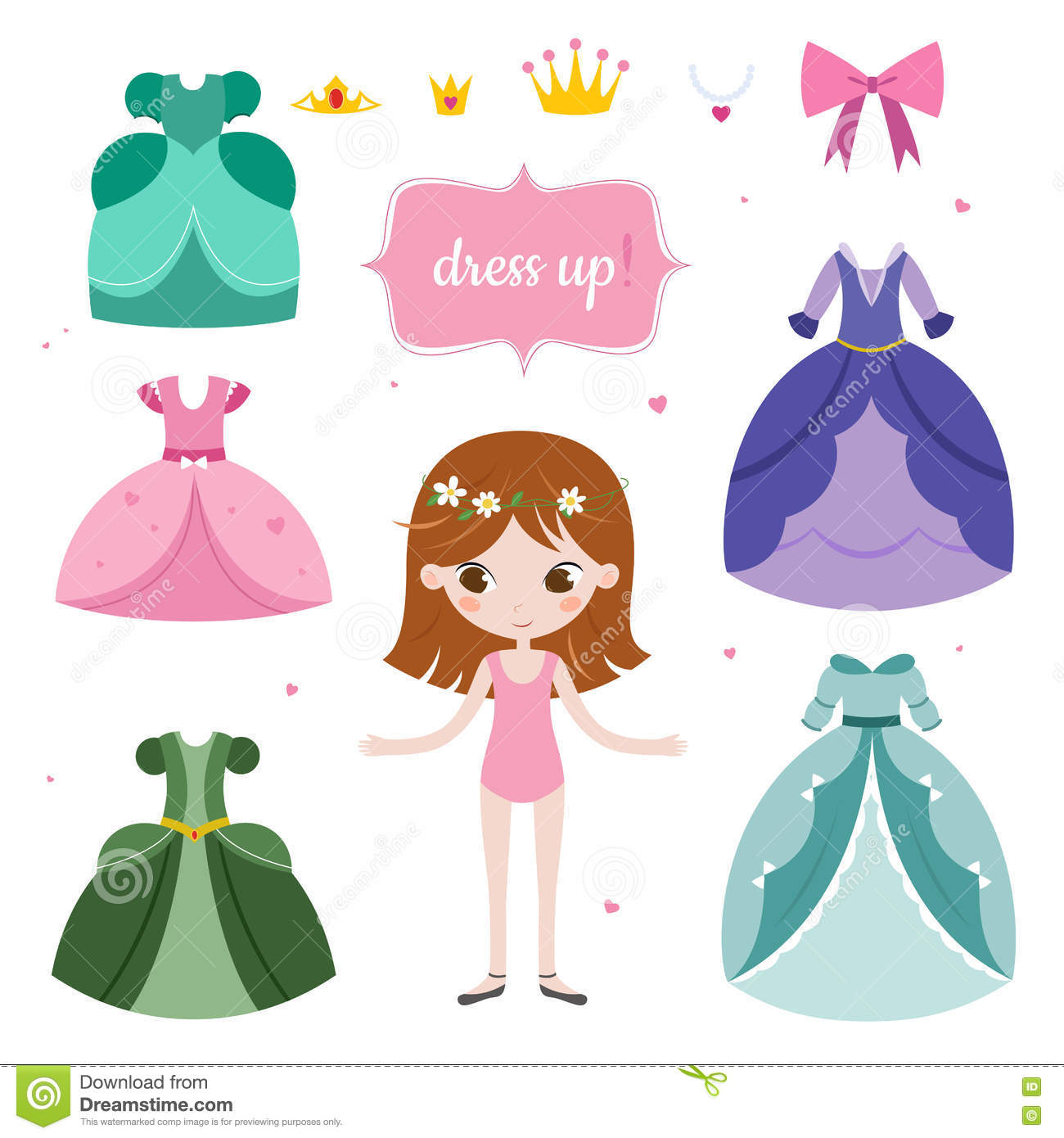 Illustration Of Princess With Beautiful Set. Princess Dress