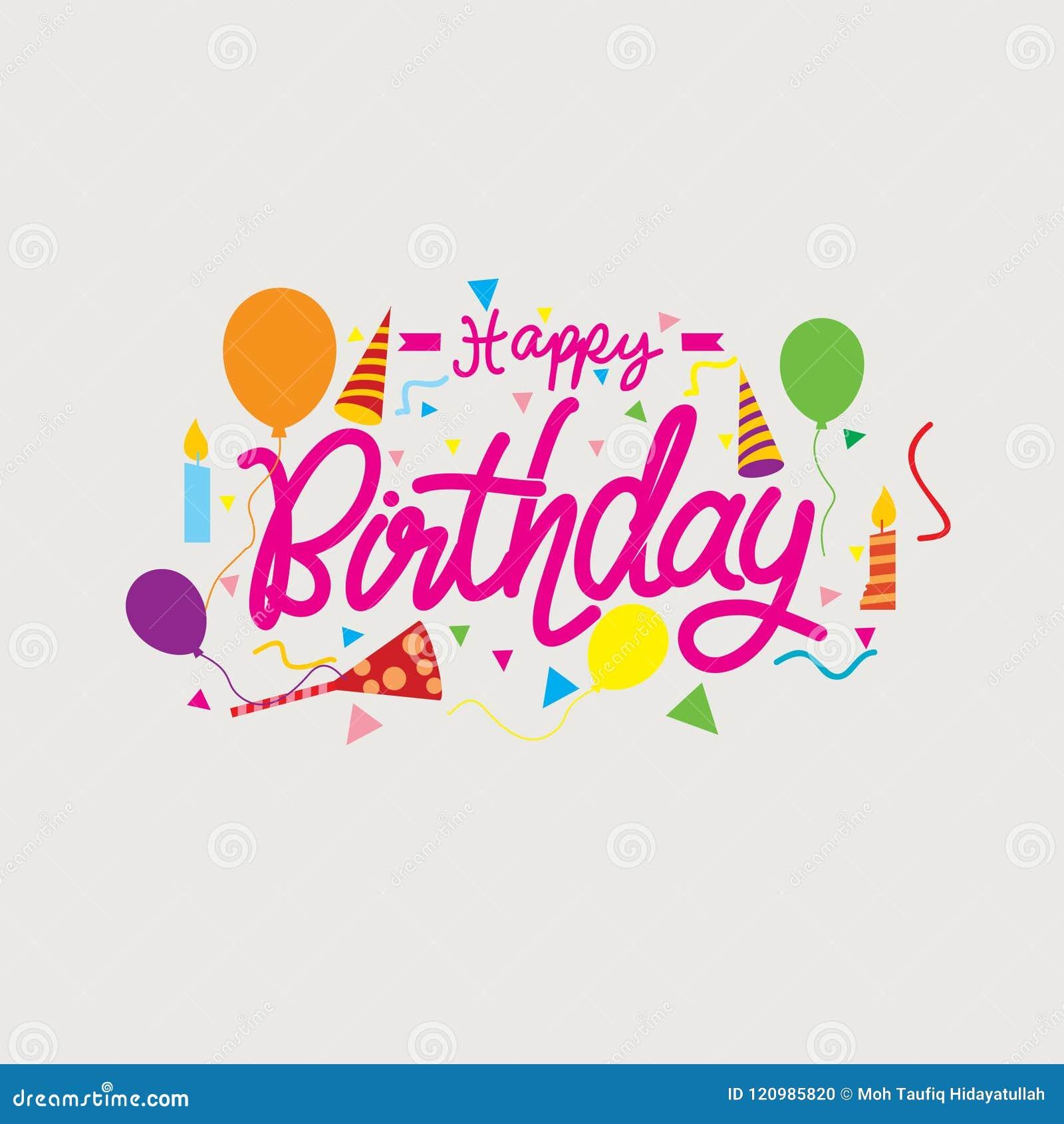 Happy Birthday Template Card Icon Vector Card Design Stock