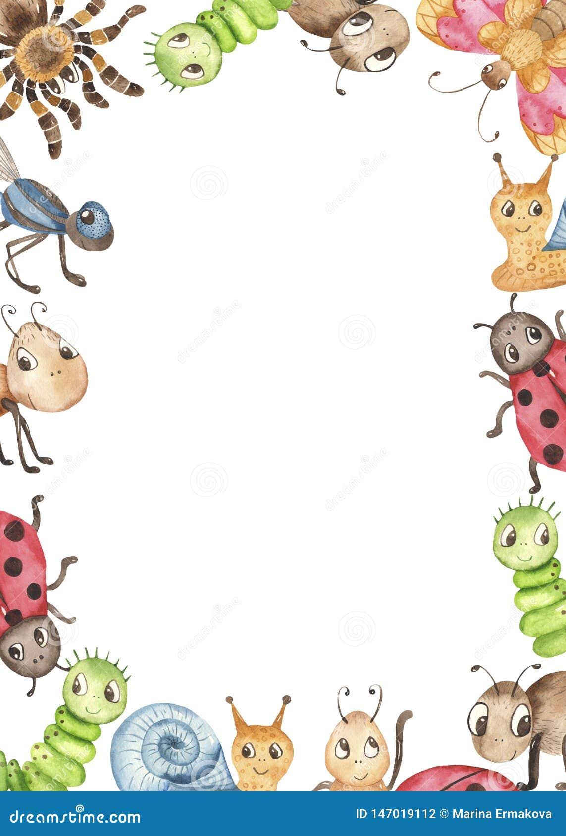 Illustration pu?rile mignonne de bande dessin?e d aquarelle avec des insectes