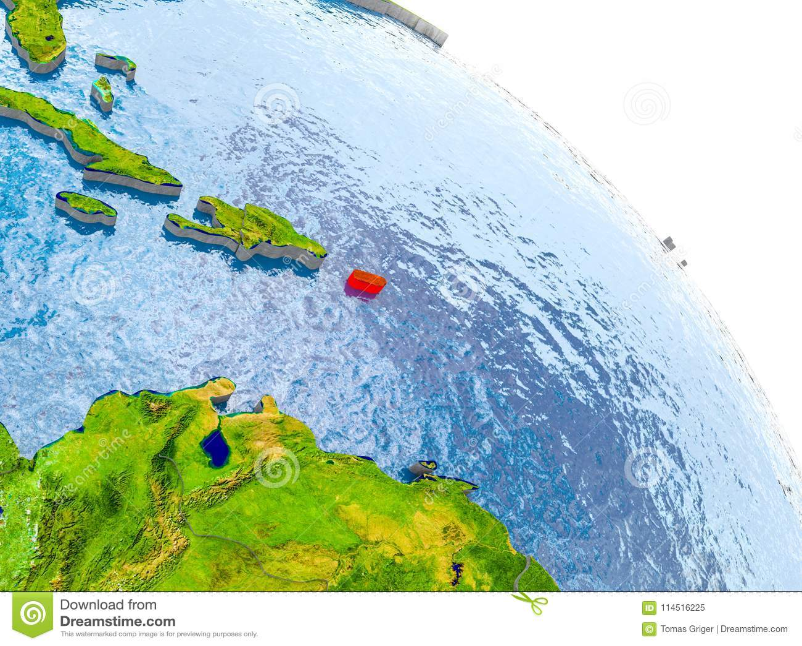 Puerto Rico In Red Model Of Earth Stock Illustration Illustration