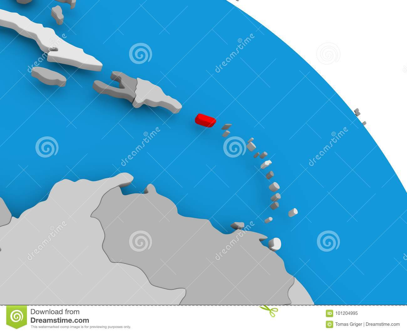 Puerto Rico In Red On Map Stock Illustration Illustration Of