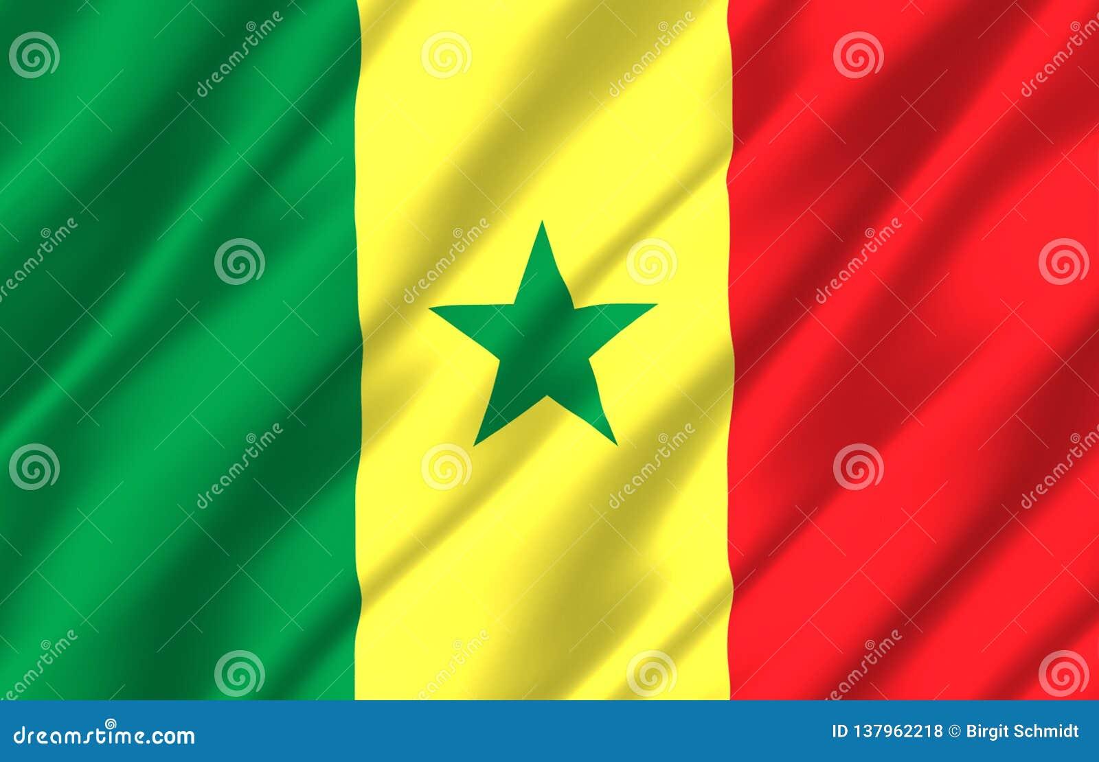 Illustration réaliste de drapeau du Sénégal