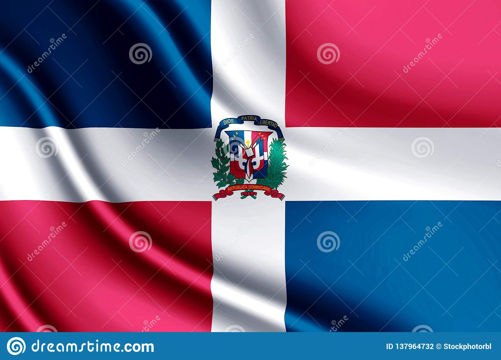 Illustration réaliste de drapeau de la République Dominicaine