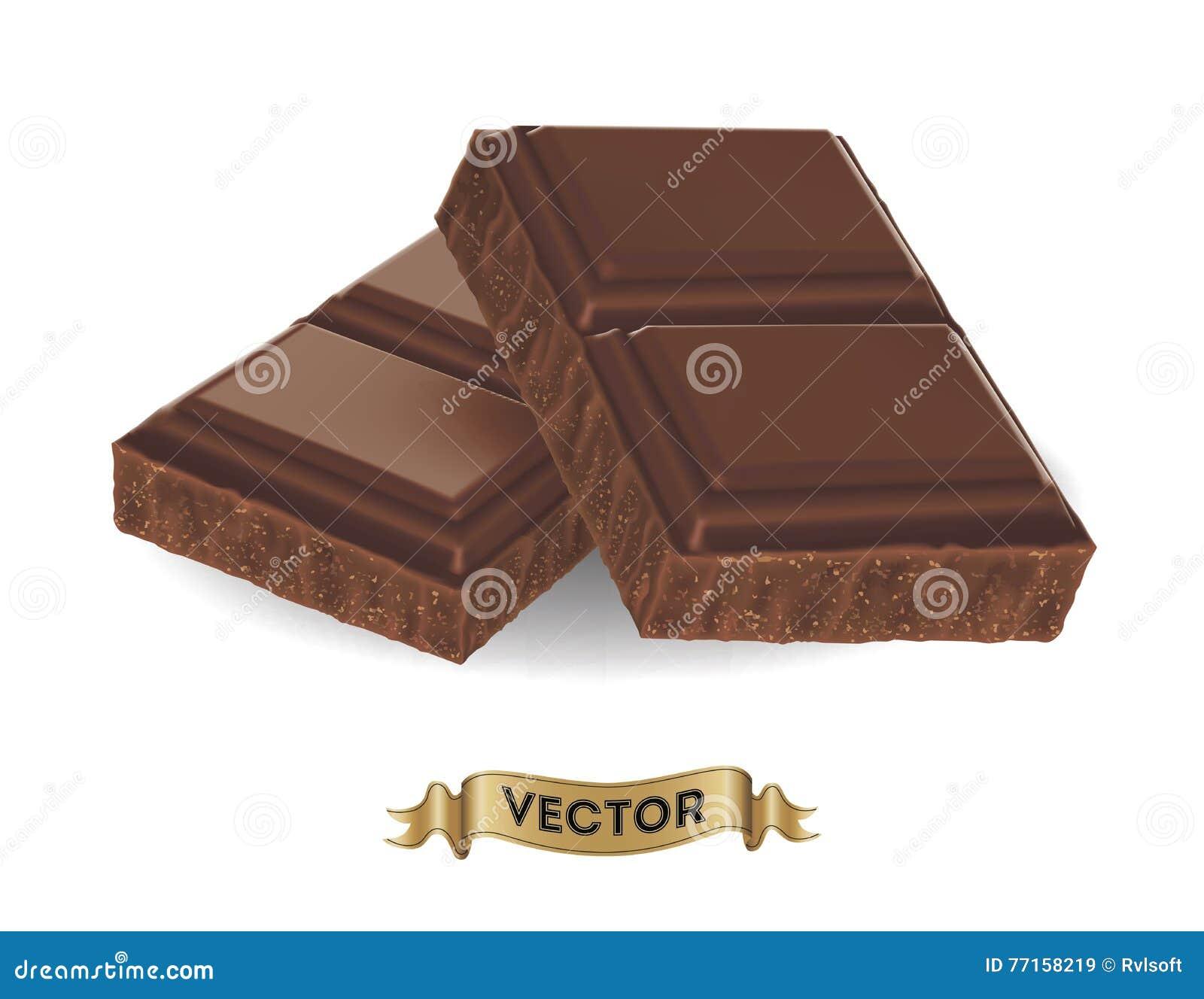 Illustration réaliste de vecteur de barre de chocolat cassée
