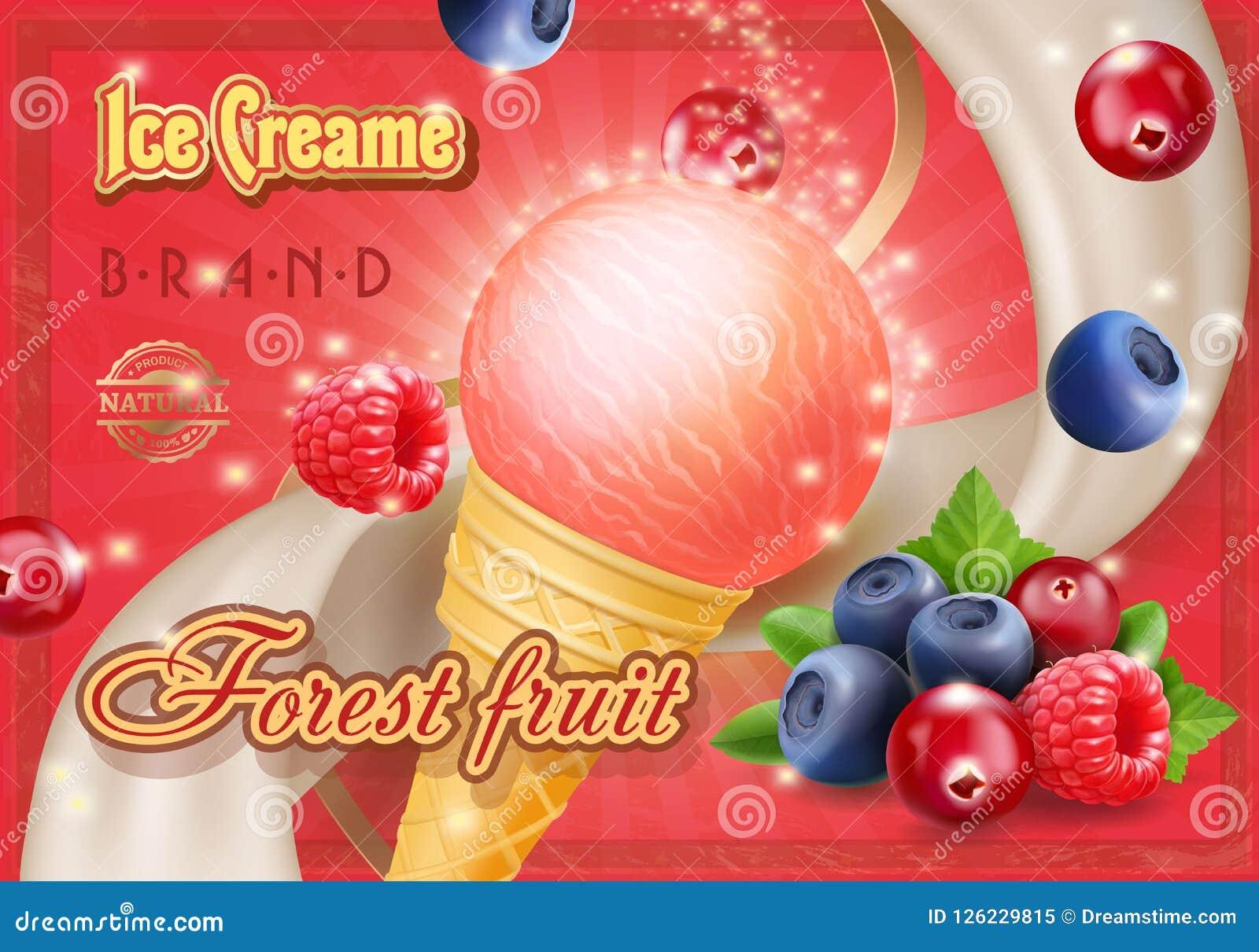 Illustration réaliste mélangée de la publicité de crème glacée de baies de forêt