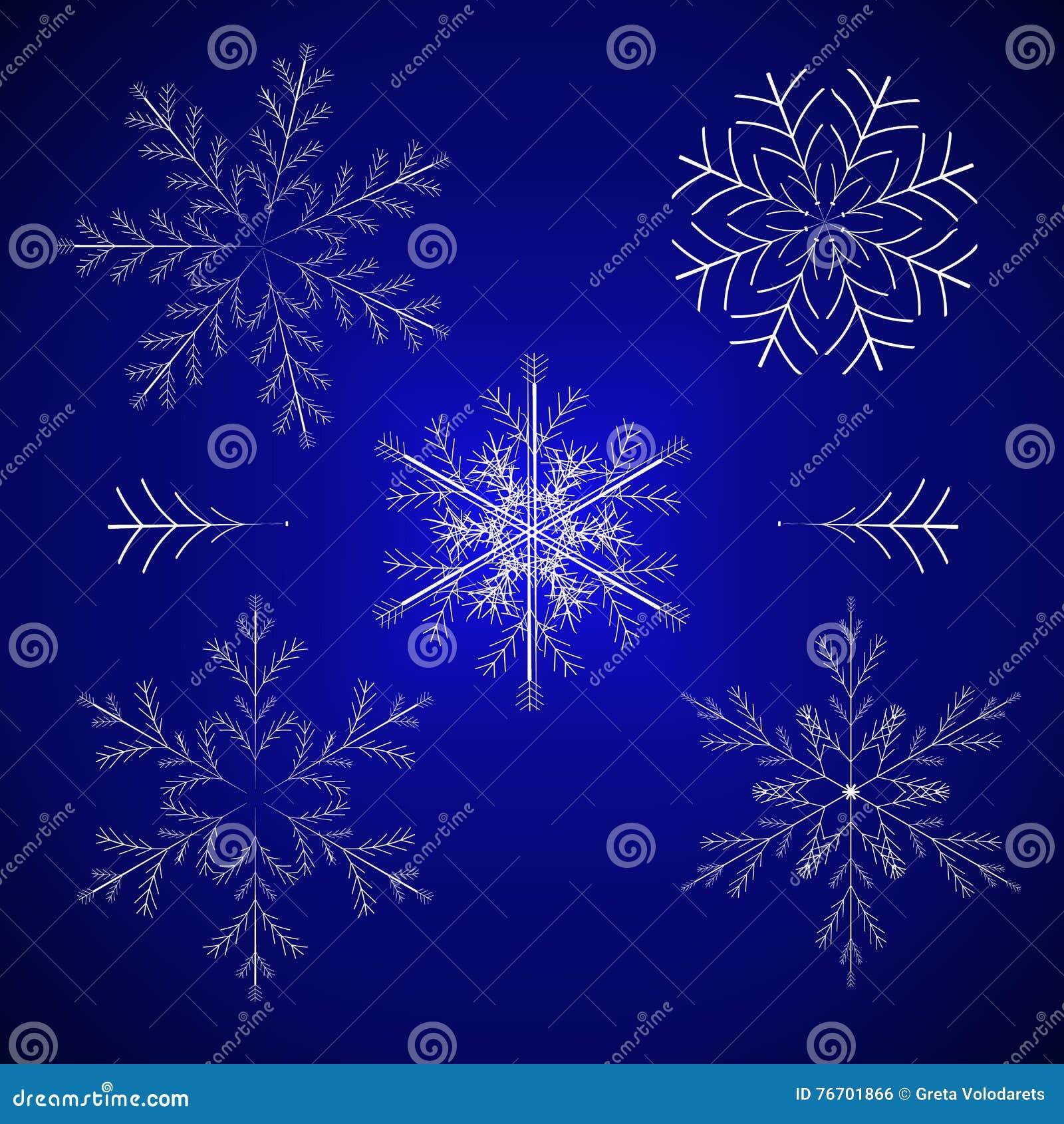 Illustration réglée de vecteur de l hiver de flocon de neige