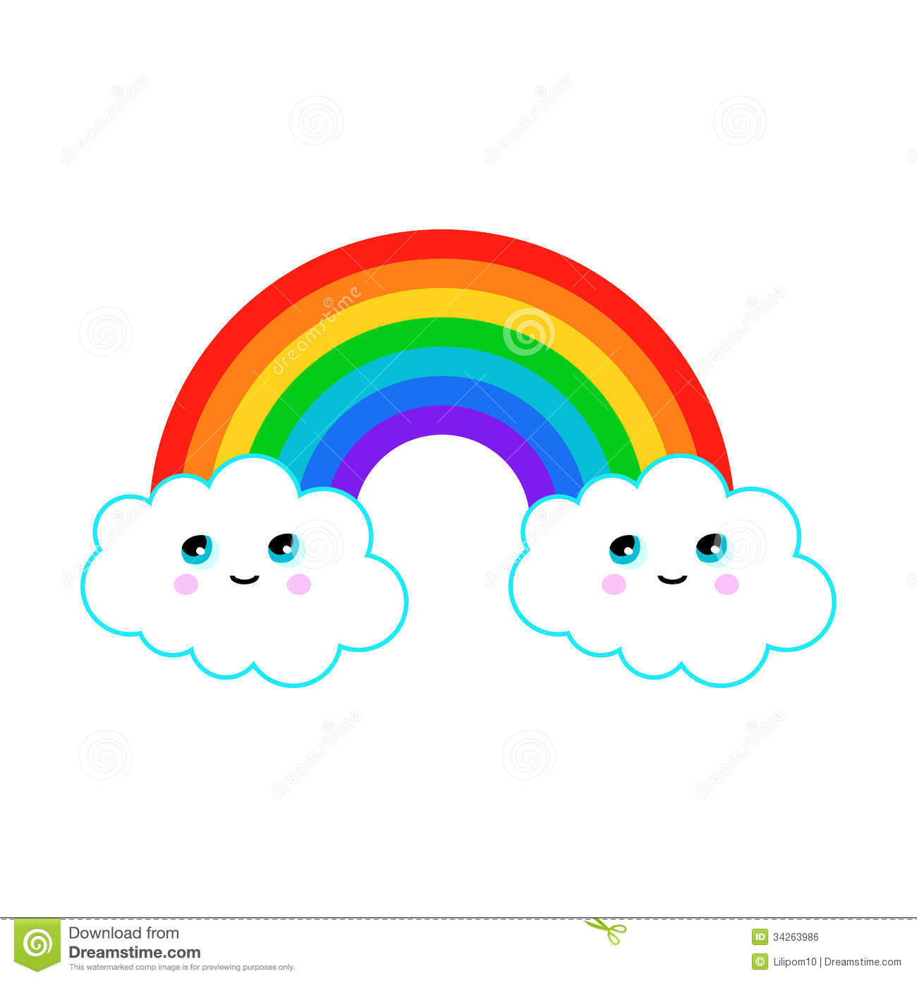 illustration of a rainbow with fun clouds royalty free stock image