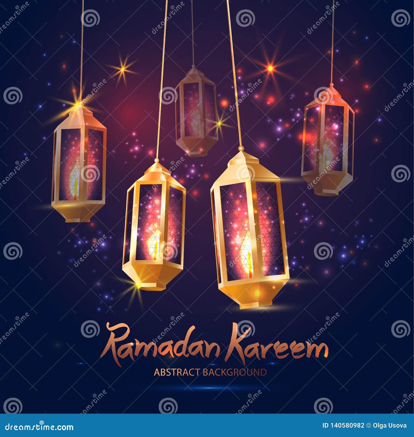 Illustration Ramadan Kareem Background med 3d lampor Fanoos,