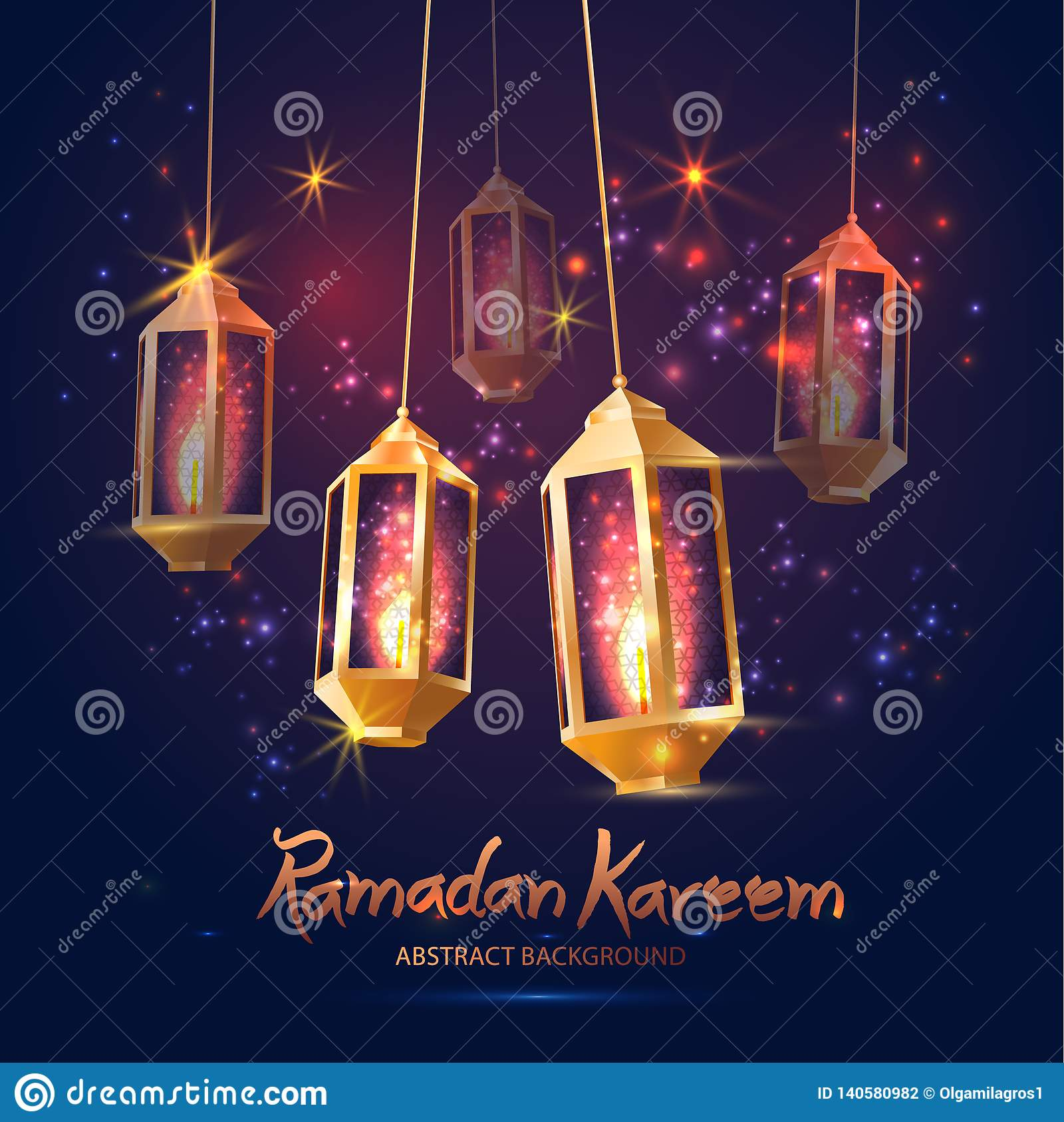 Illustration Ramadan Kareem Background mit 3d Lampen Fanoos,
