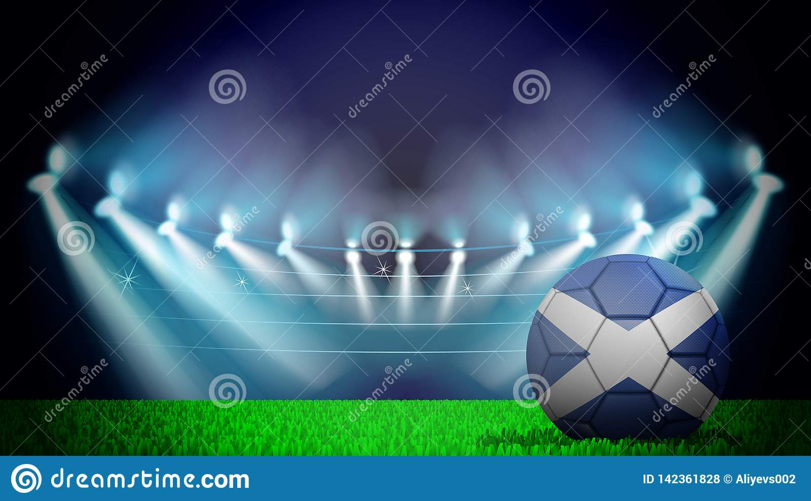 illustration of realistic soccer ball painted in the national flag of Scotland on lighted stadium. Vector can be used in