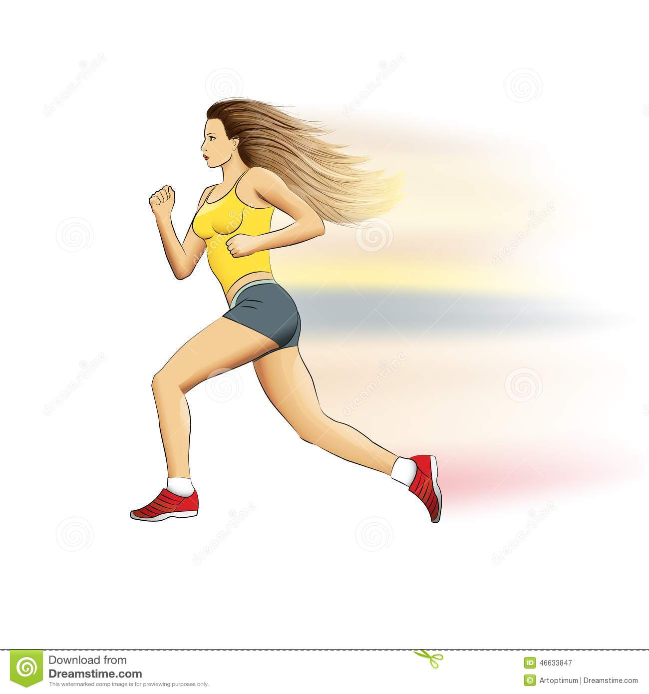 illustration of a realistic sports running girl on stock vector