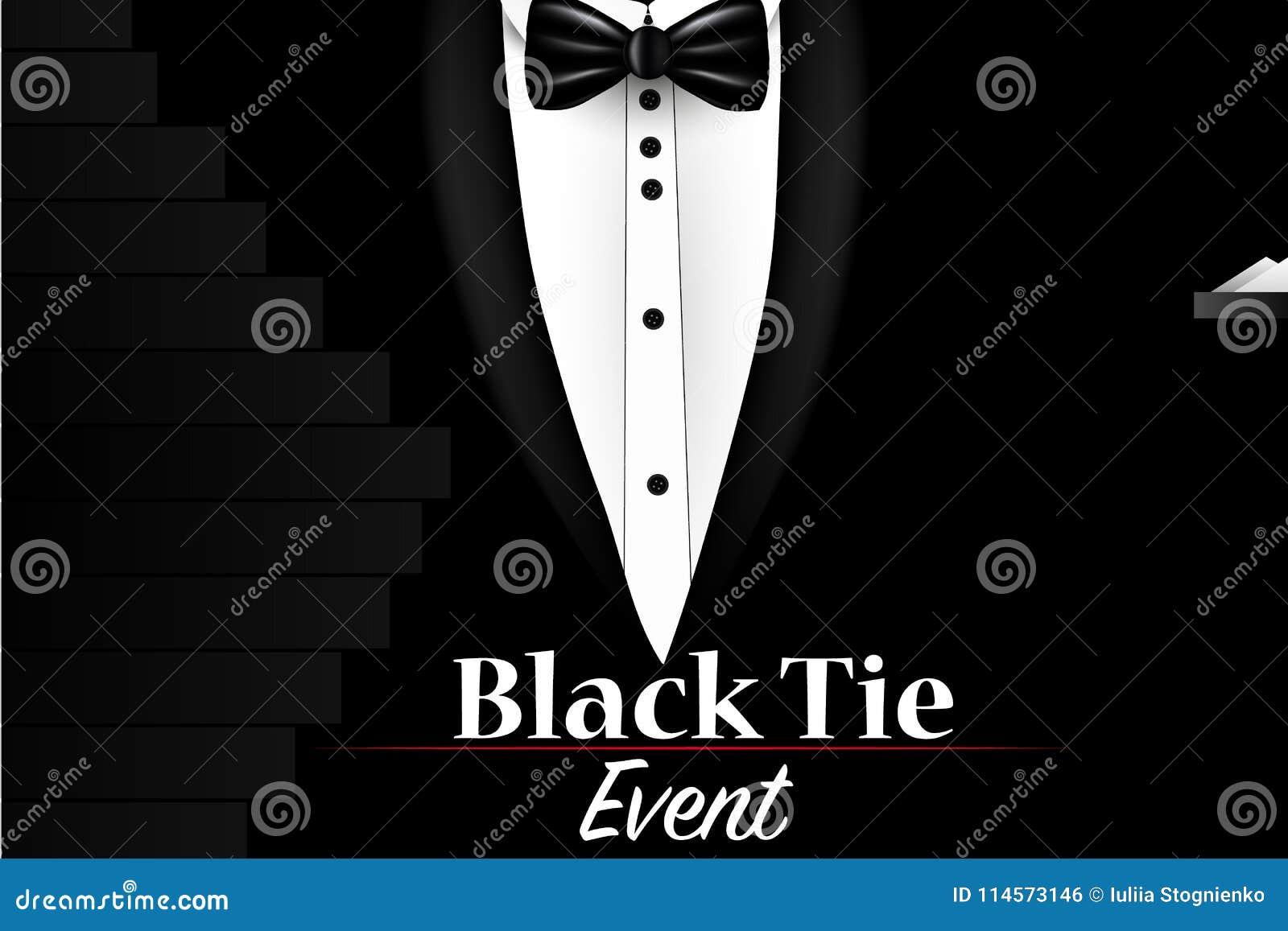 d35fe854605c Illustration of Realistic Vector Black Suit. Black Tie Event Invitation  Template.
