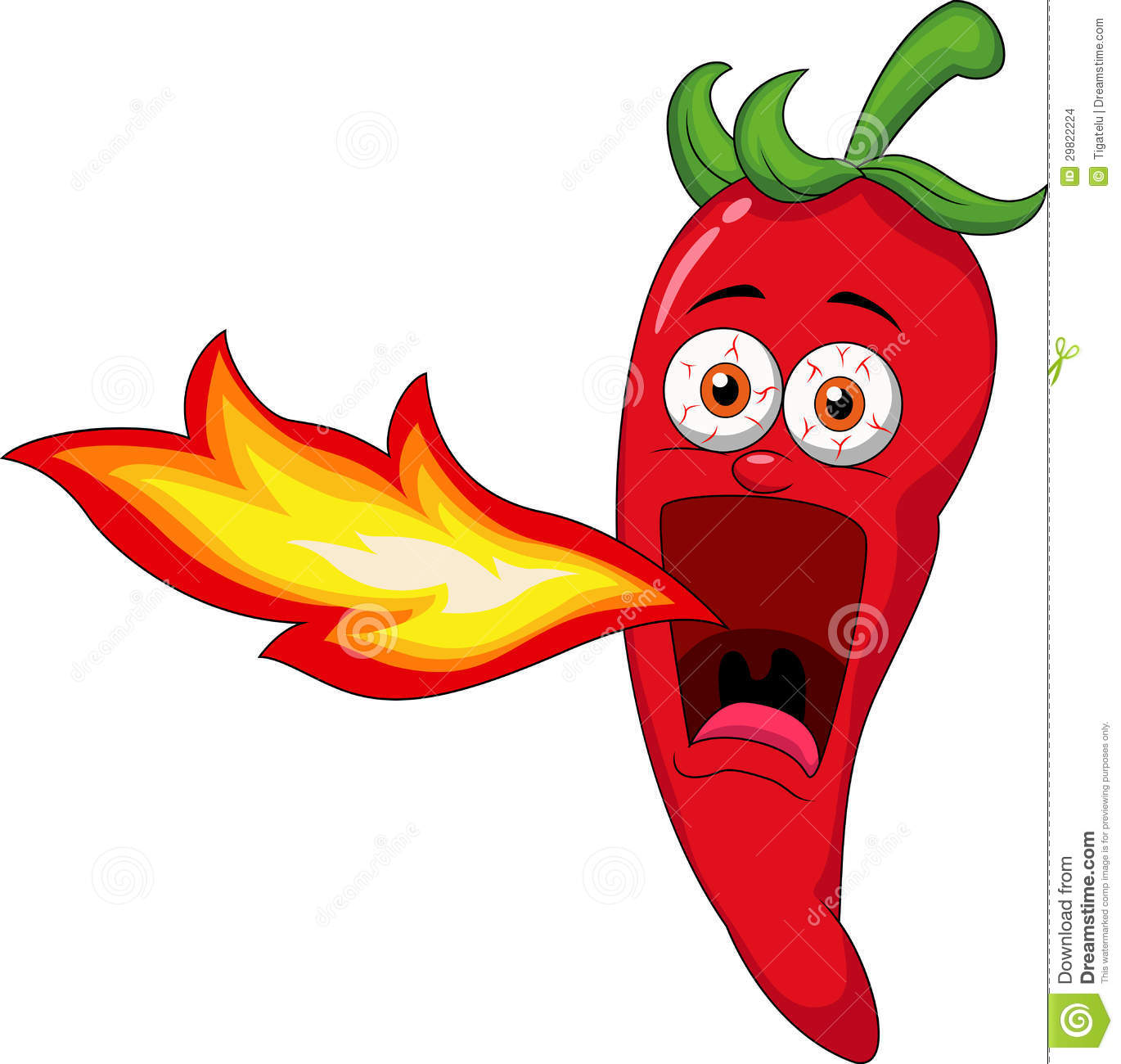 Chili Cartoon Character Breathing Fire Stock Images - Image: 29822224