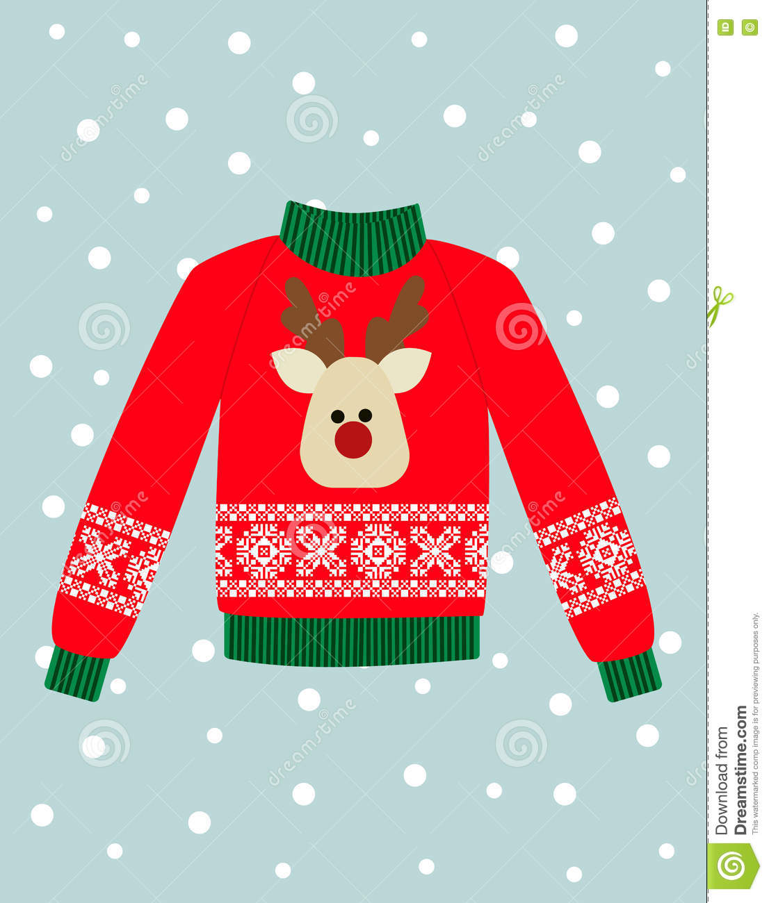 97132ea9930d9 Illustration of a red Christmas sweater with deer. Funny holiday background.  Bright Christmas card.
