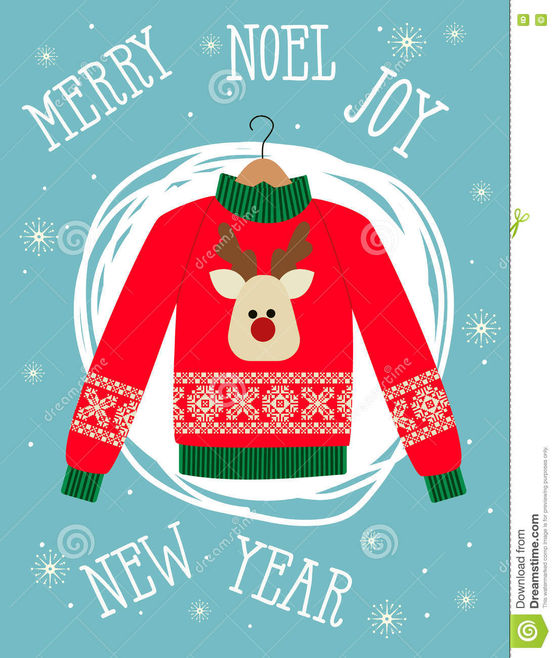 d33239d5b5876 Illustration of a red Christmas sweater with deer.Funny holiday background. Bright  Christmas card