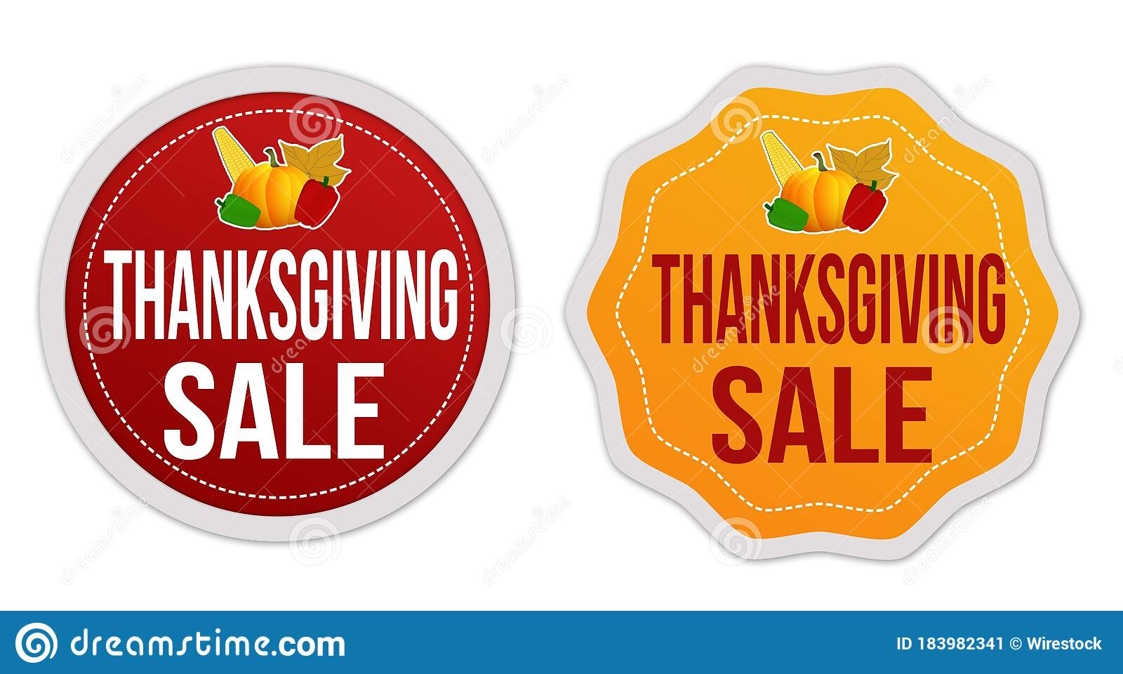 Illustration Of Red And Orange Signs Saying Thanksgiving Sale Isolated On A White Background Stock Illustration Illustration Of Text Banner 183982341