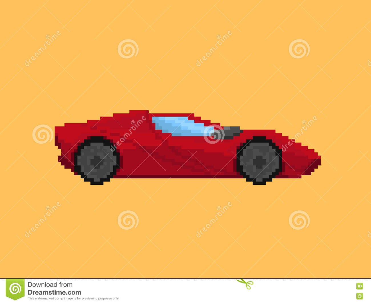 Illustration Of Red Sport Car In Pixel Art Style Stock