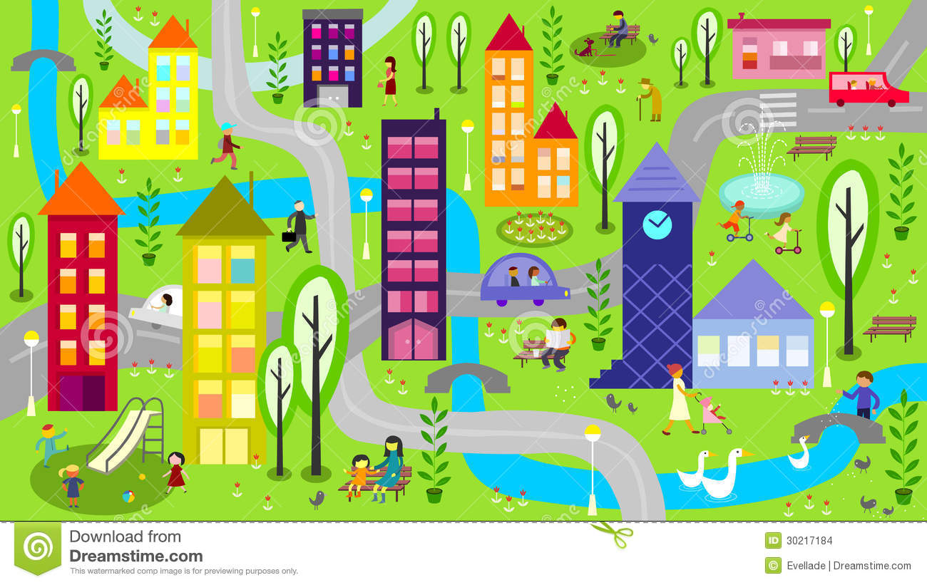 Colorful City With River And Roads Stock Vector