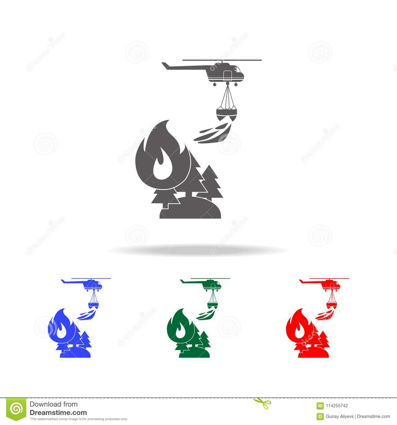 illustration of rescue forest firefighting helicopter in the air icon. Elements of firefighter multi colored icons. Premium qualit