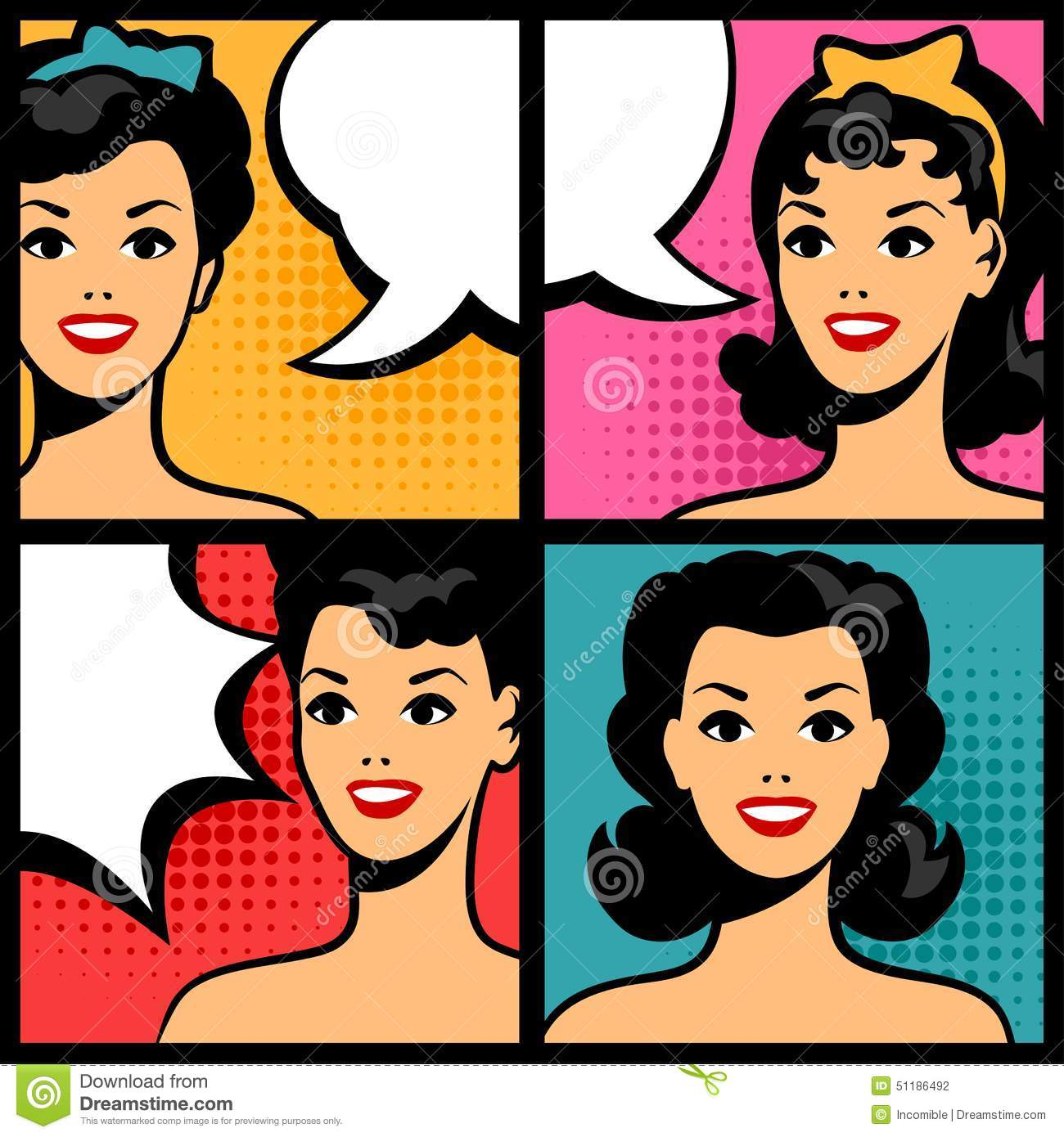 illustration of retro girls in pop art style stock vector. Black Bedroom Furniture Sets. Home Design Ideas