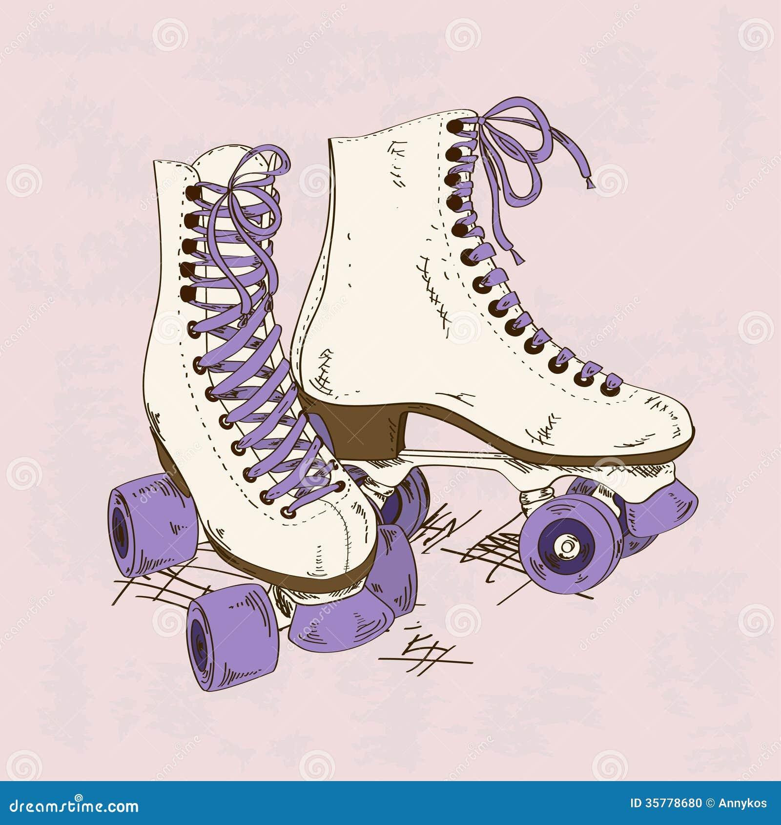 Roller skates in the 70s - Illustration With Retro Roller Skates Stock Photo