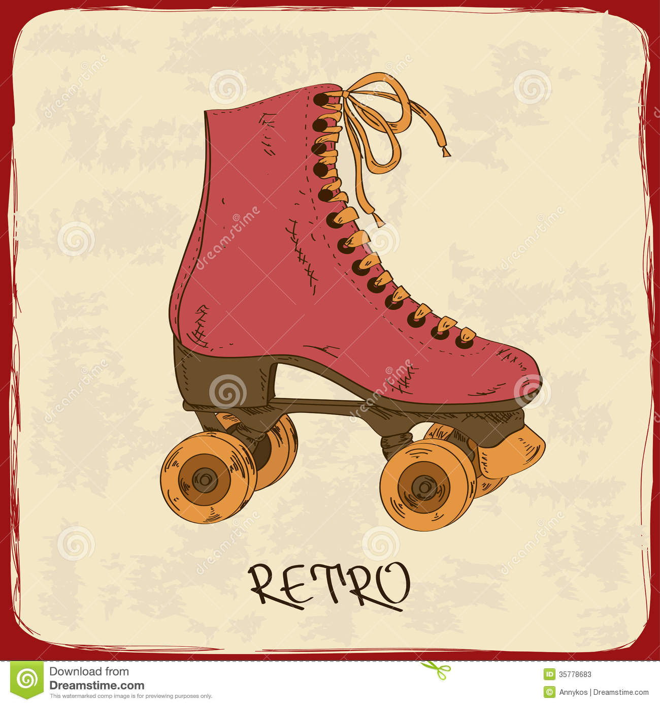 Illustration with retro roller skates stock photos image for Imagenes retro vintage