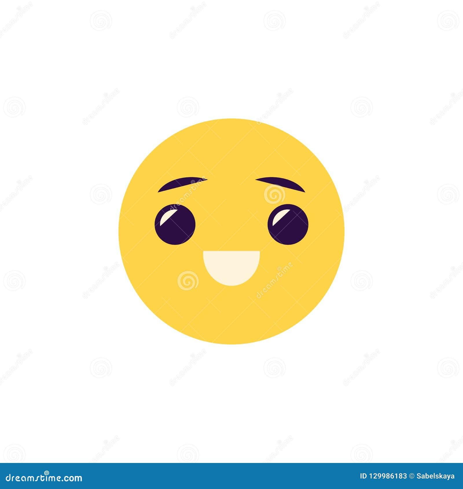 Illustration riante de vecteur d émoticône - boule souriante de visage comique avec émotion positive