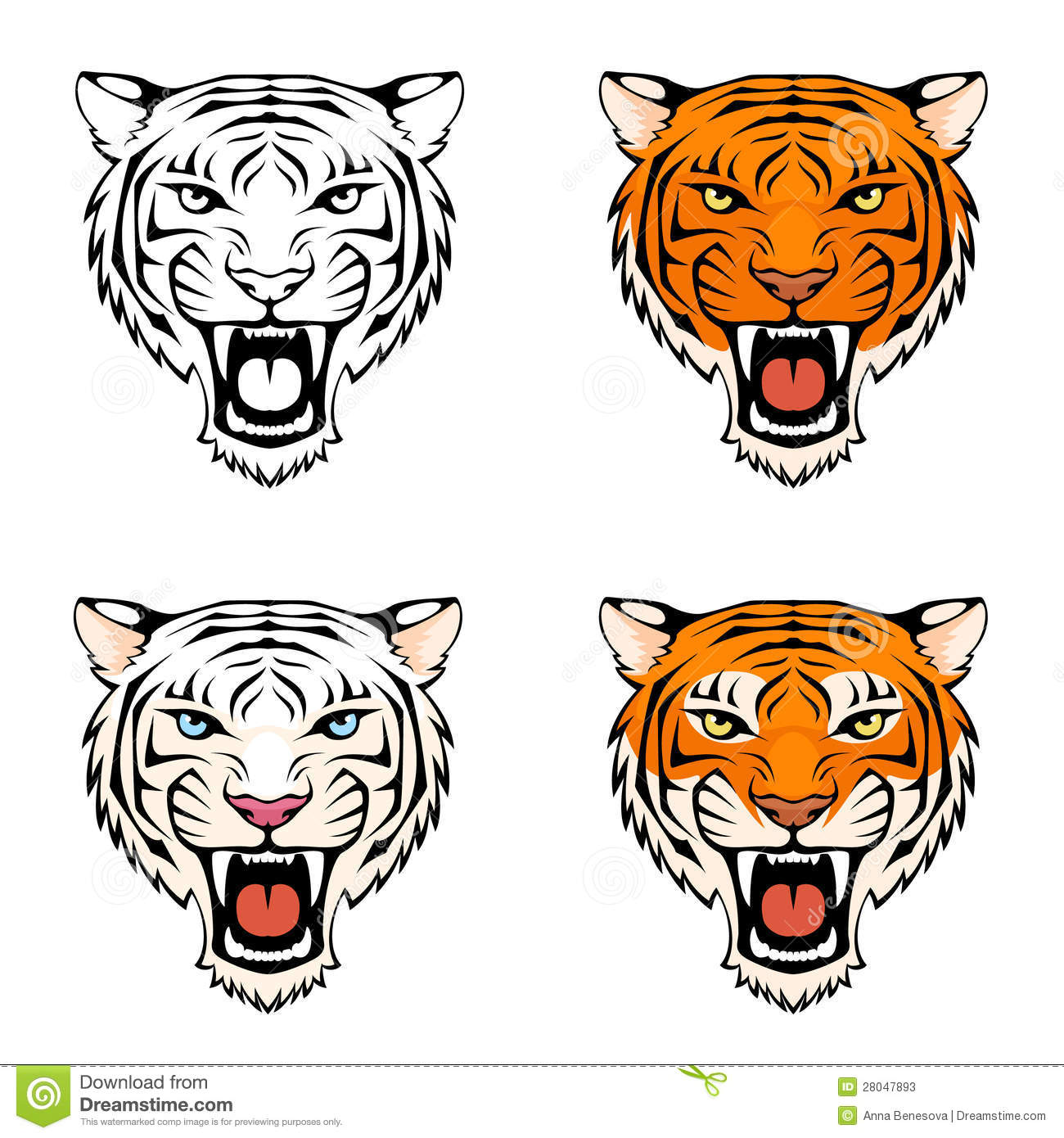 Stock Photos Illustration Of A Roaring Tiger Head Image