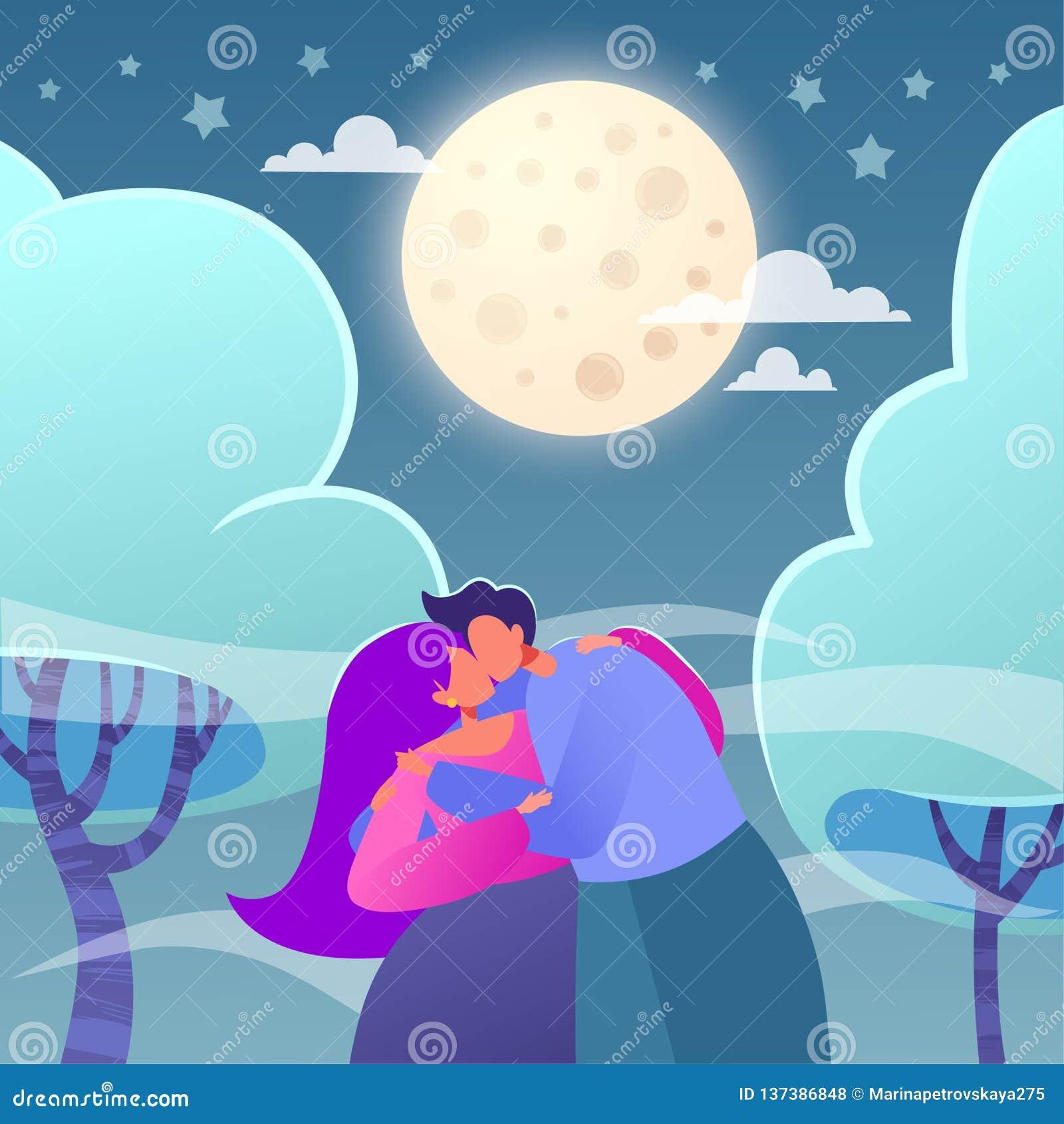 Illustration romantique de vecteur sur le thème d histoire d amour Caractère plat heureux de personnes