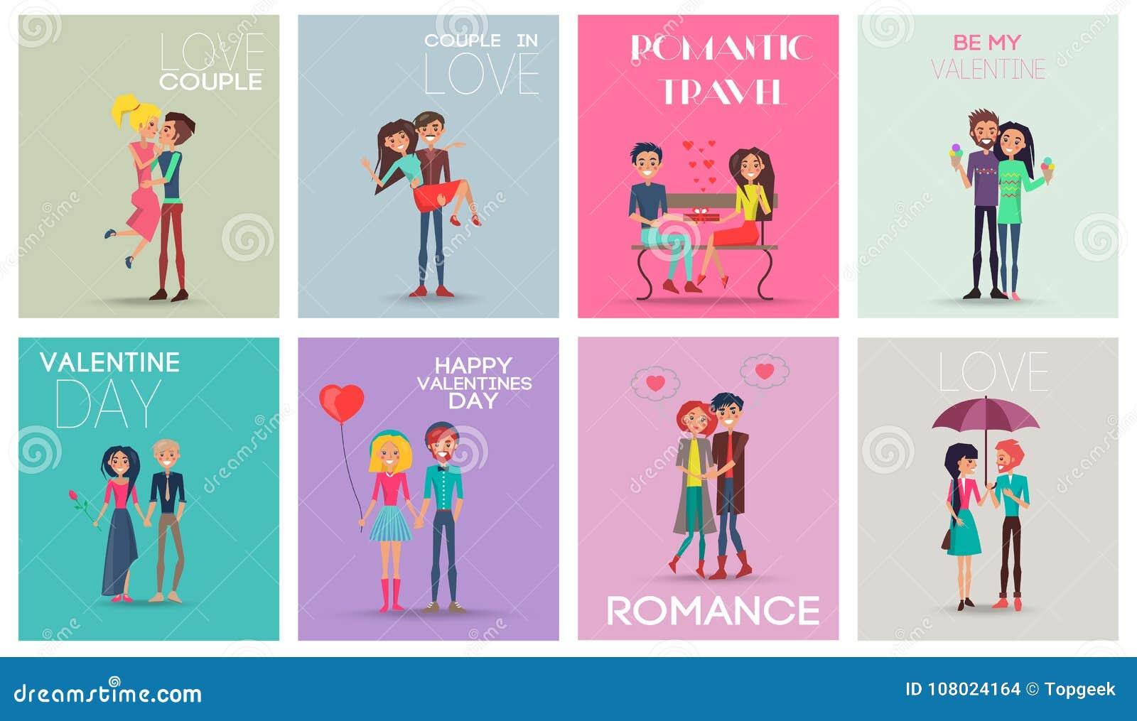 Illustration romantique de vecteur de voyage de couples d amour