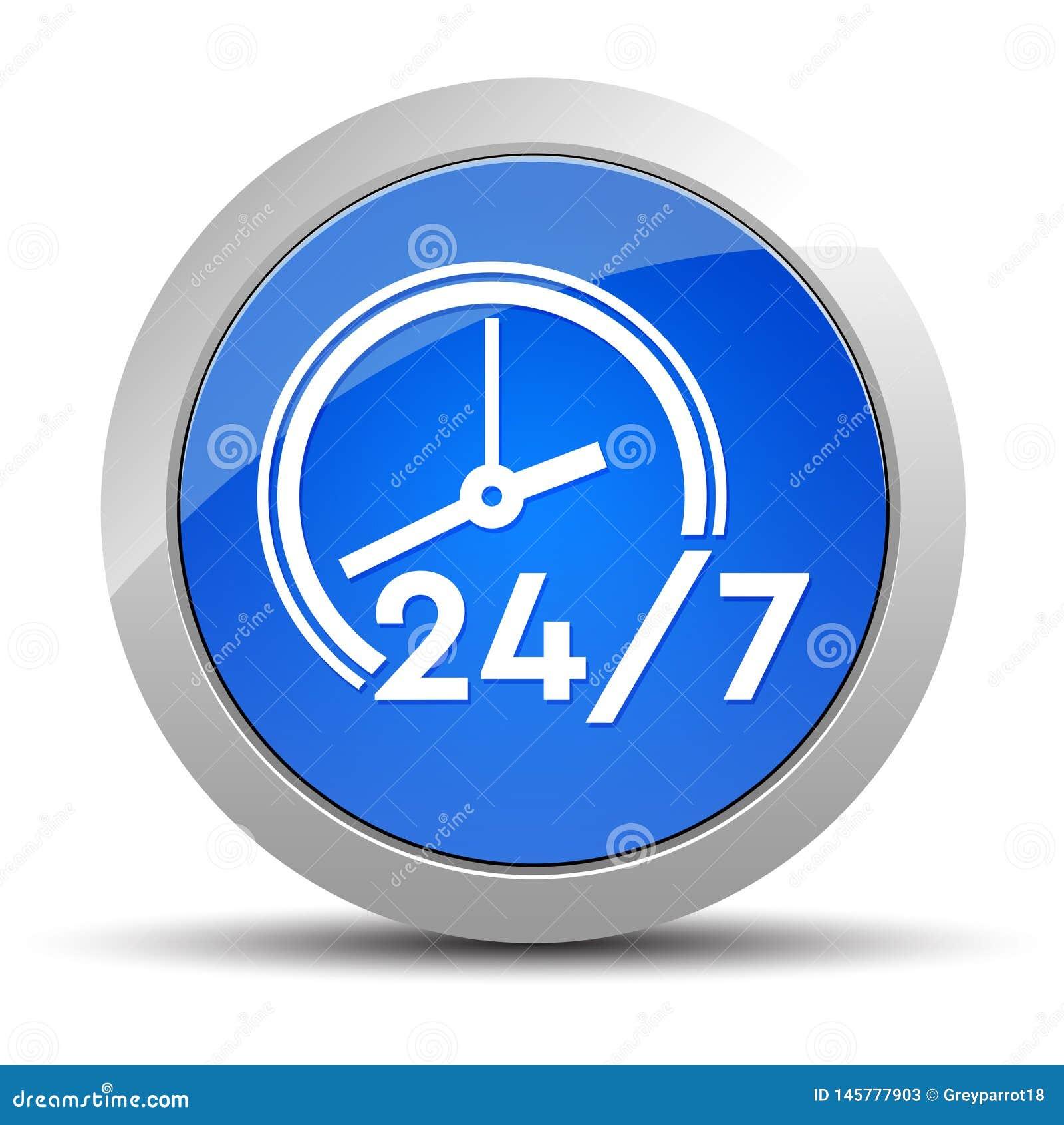 24/7 illustration ronde bleue de bouton d ic?ne d horloge
