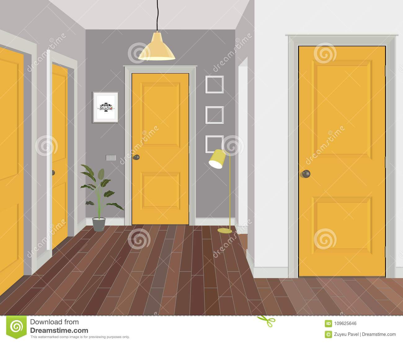 illustration of a room with yellow doors interior of the room with