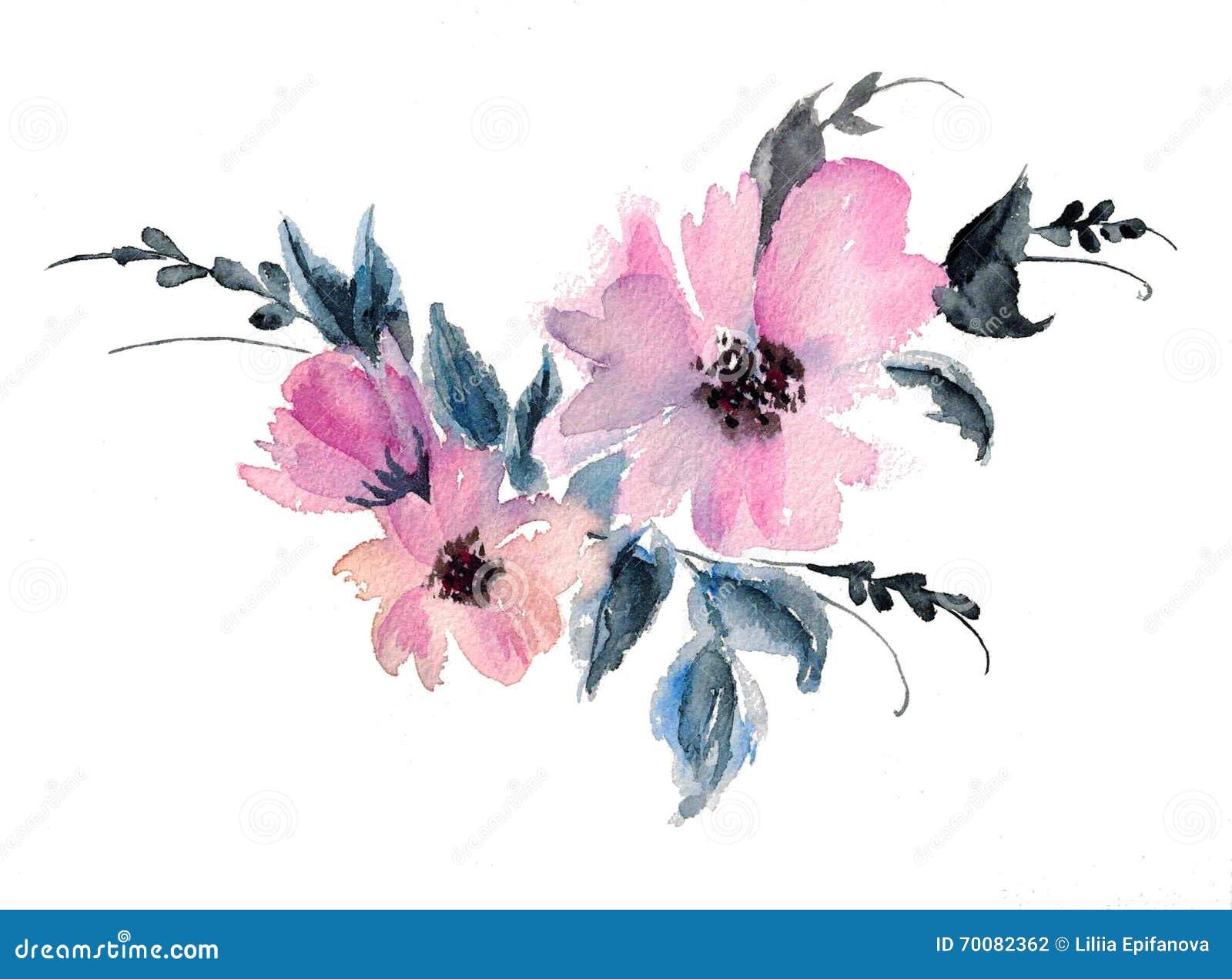 Illustration rose de dessin d aquarelle de fleur de mauve