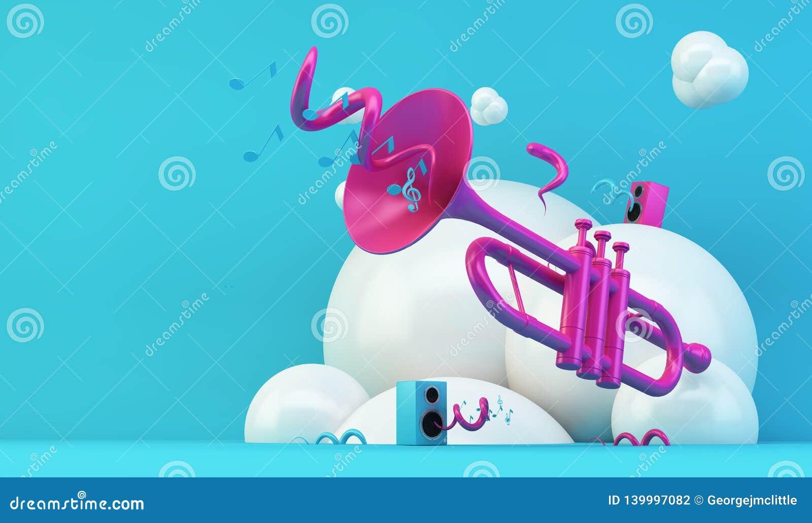Illustration rose de trompette sur le fond bleu