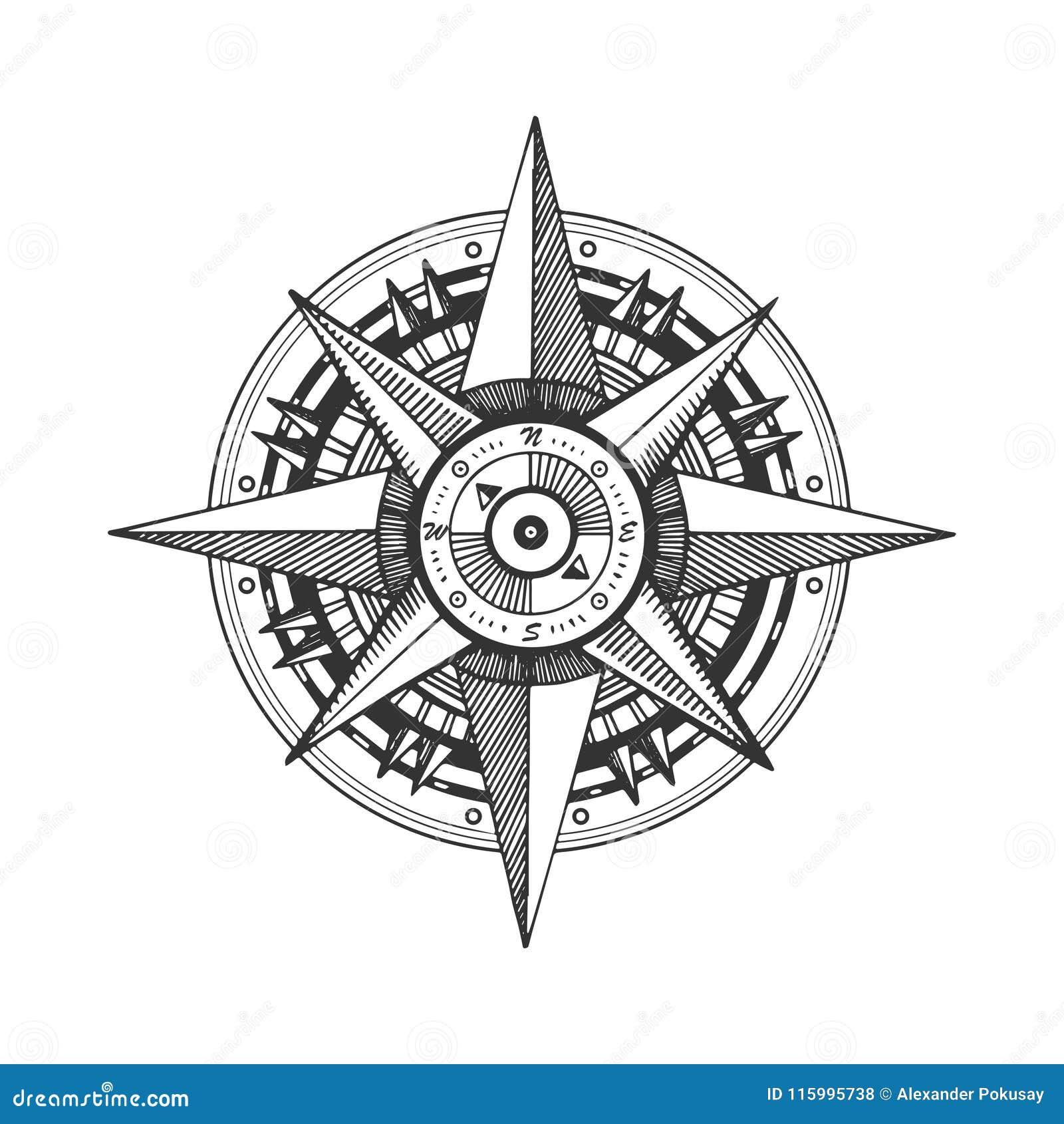 Illustration Rose De Vecteur De Gravure De Vent Medieval