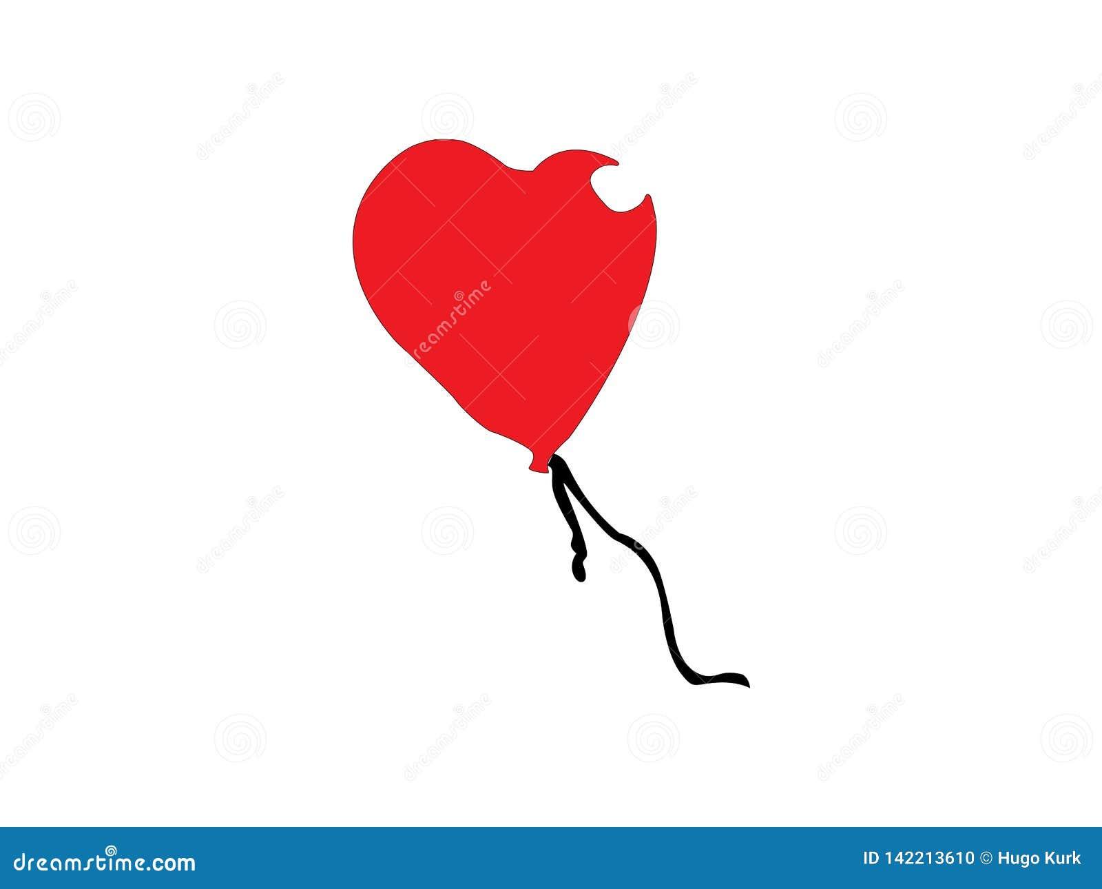 Illustration rouge de ballon de coeur