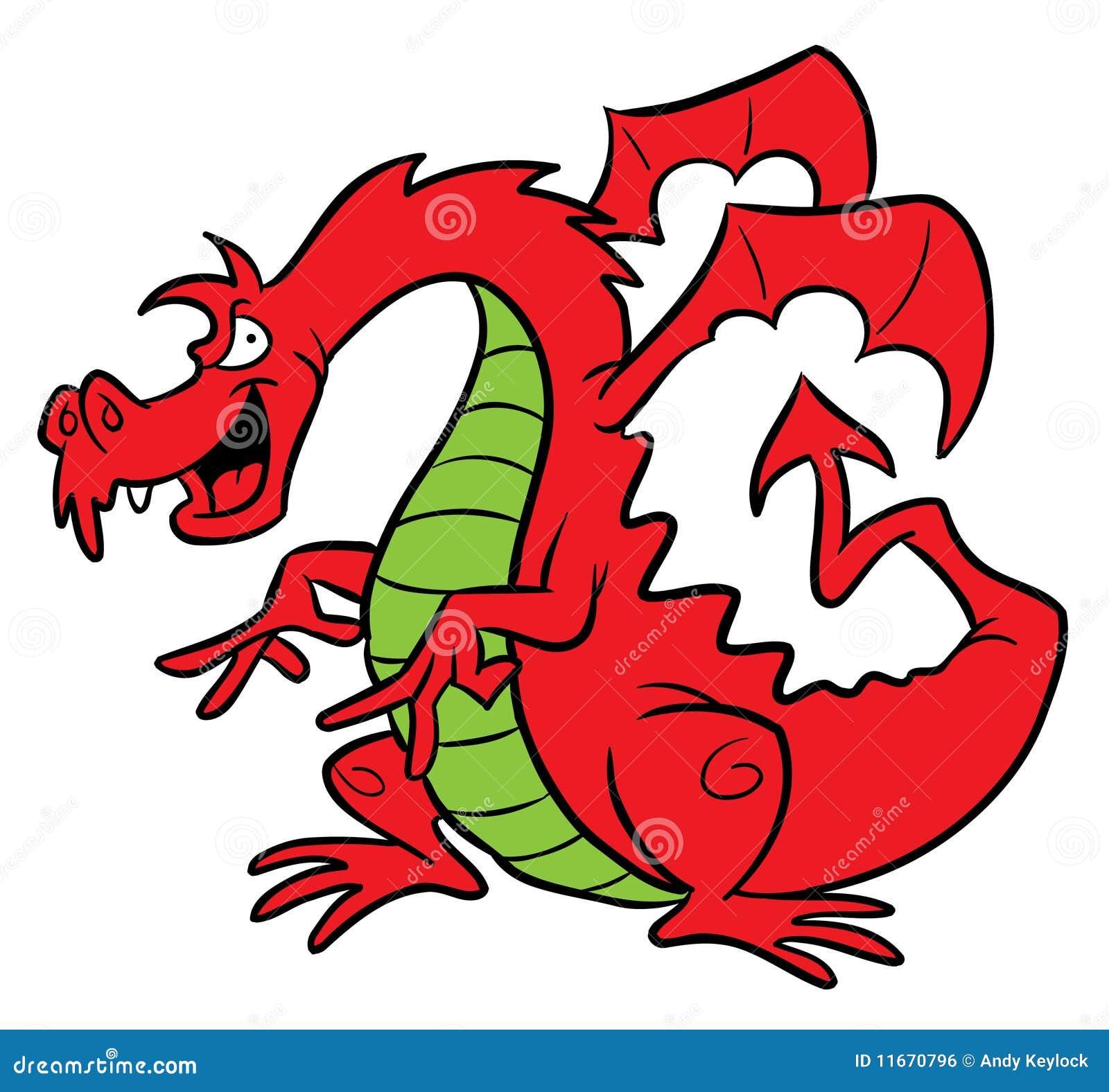 Illustration rouge de dessin anim de dragon illustration - Dessin dragon couleur ...