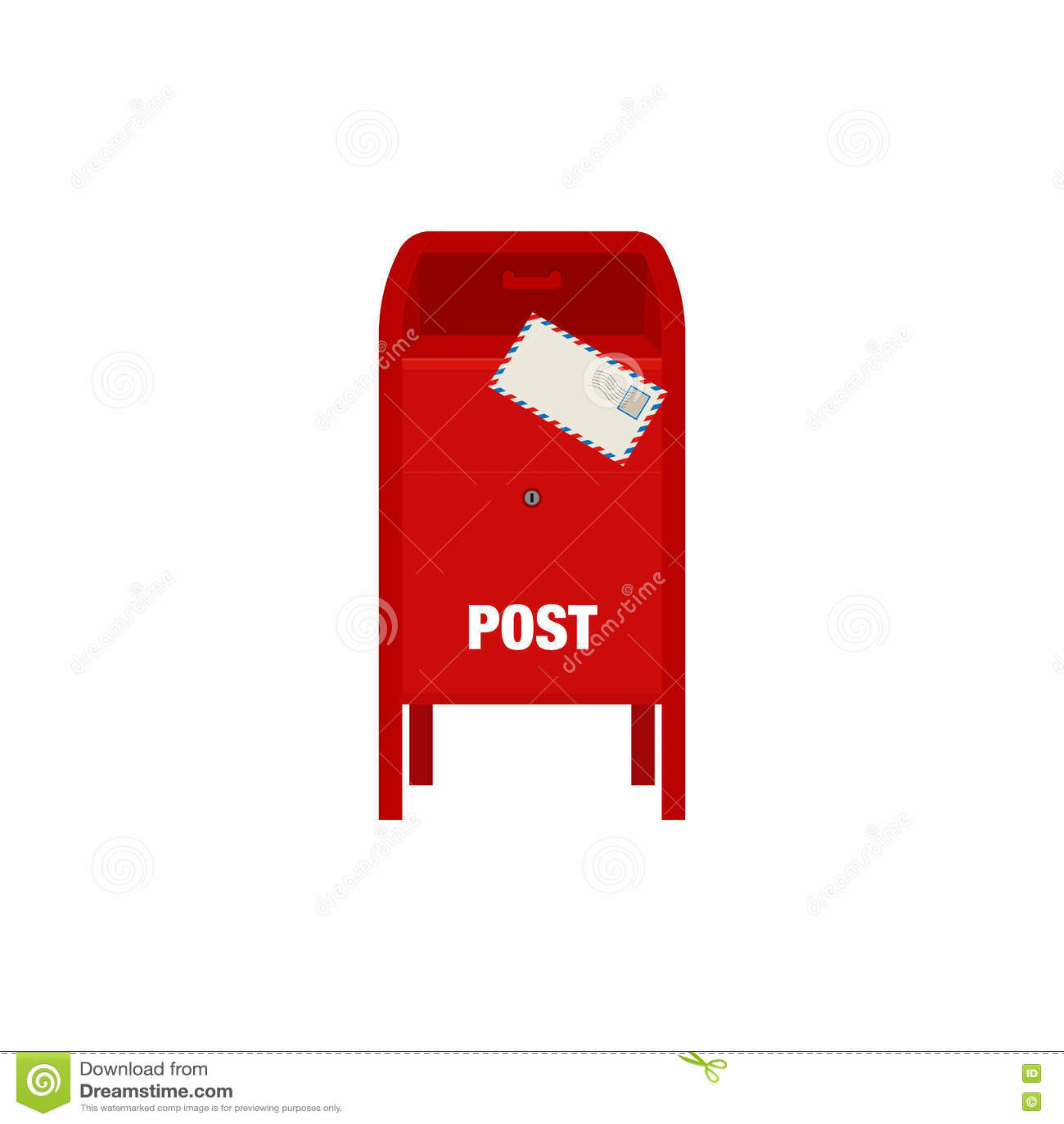 Illustration rouge de vecteur de boîte de courrier de courrier