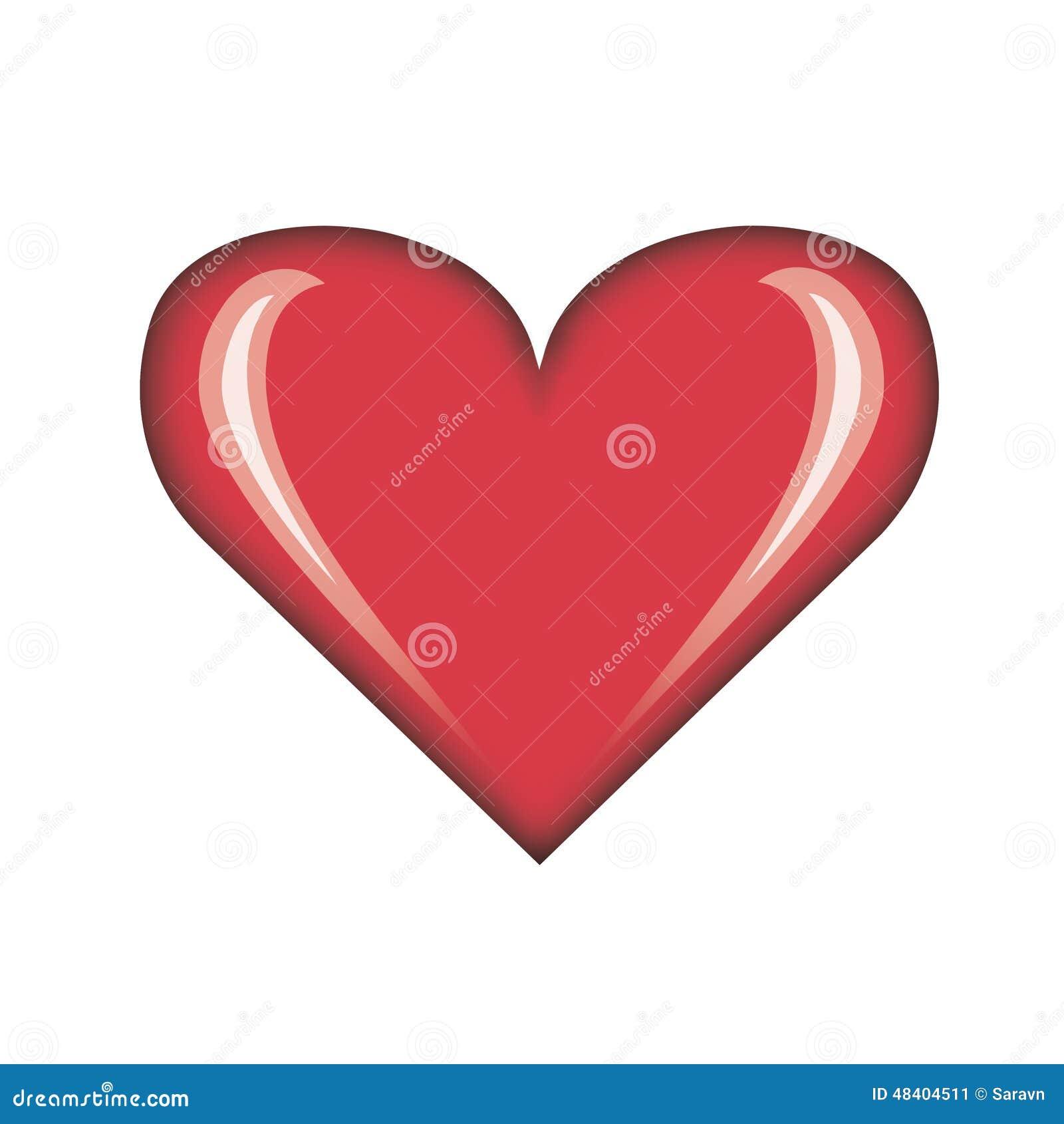 Illustration rouge simple brillante de coeur de plaine de carte du jour de valentine