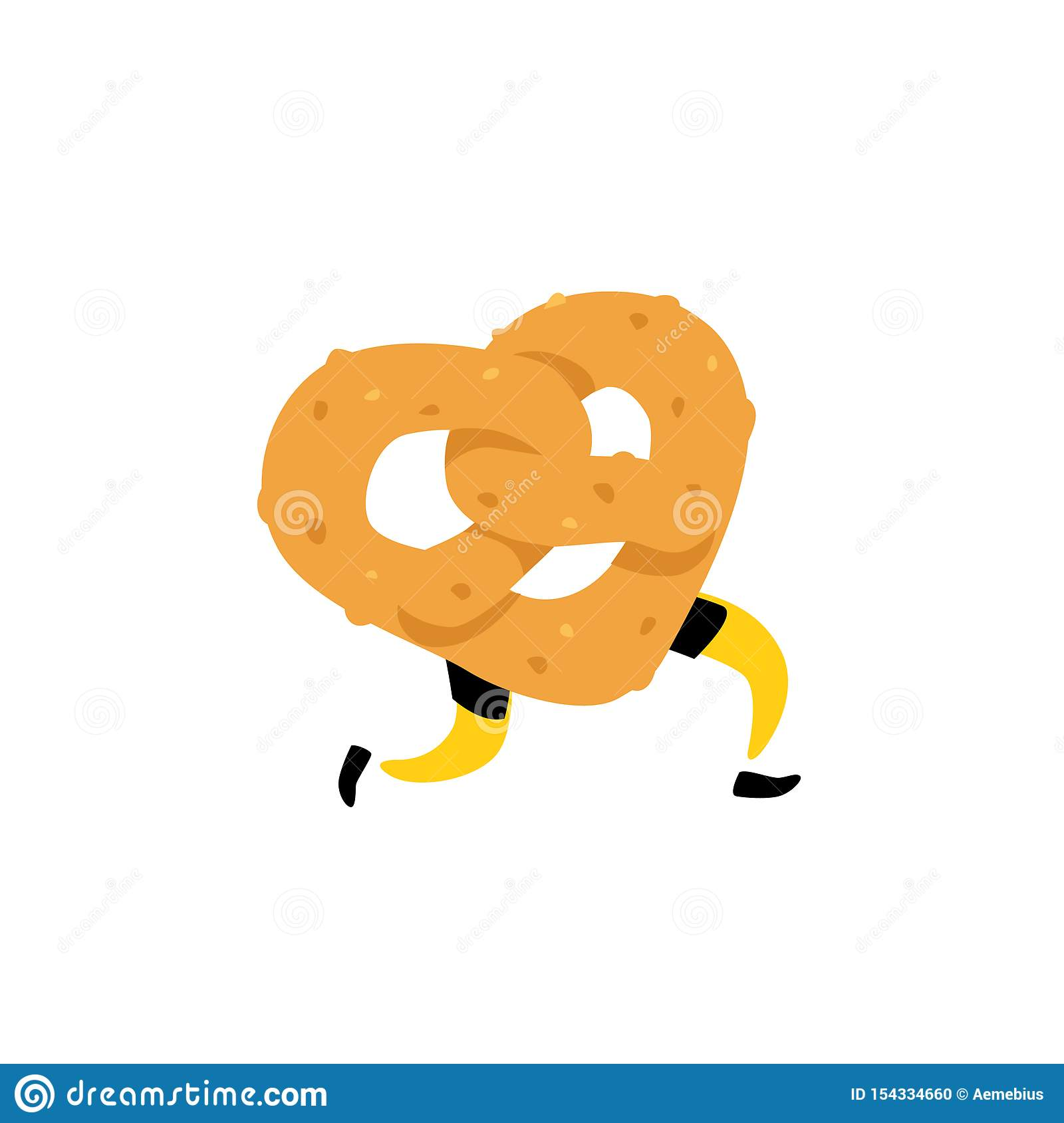 Illustration of a running bagel. Running pretzels. Vector. Crunchy character with legs. Icon for the site. Sign, logo for the stor