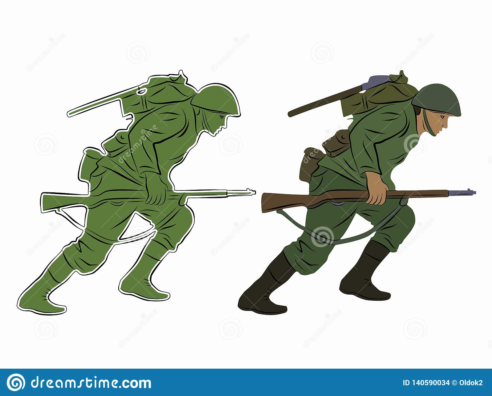 Illustration Of A Running Soldier, Vector Draw Stock Vector