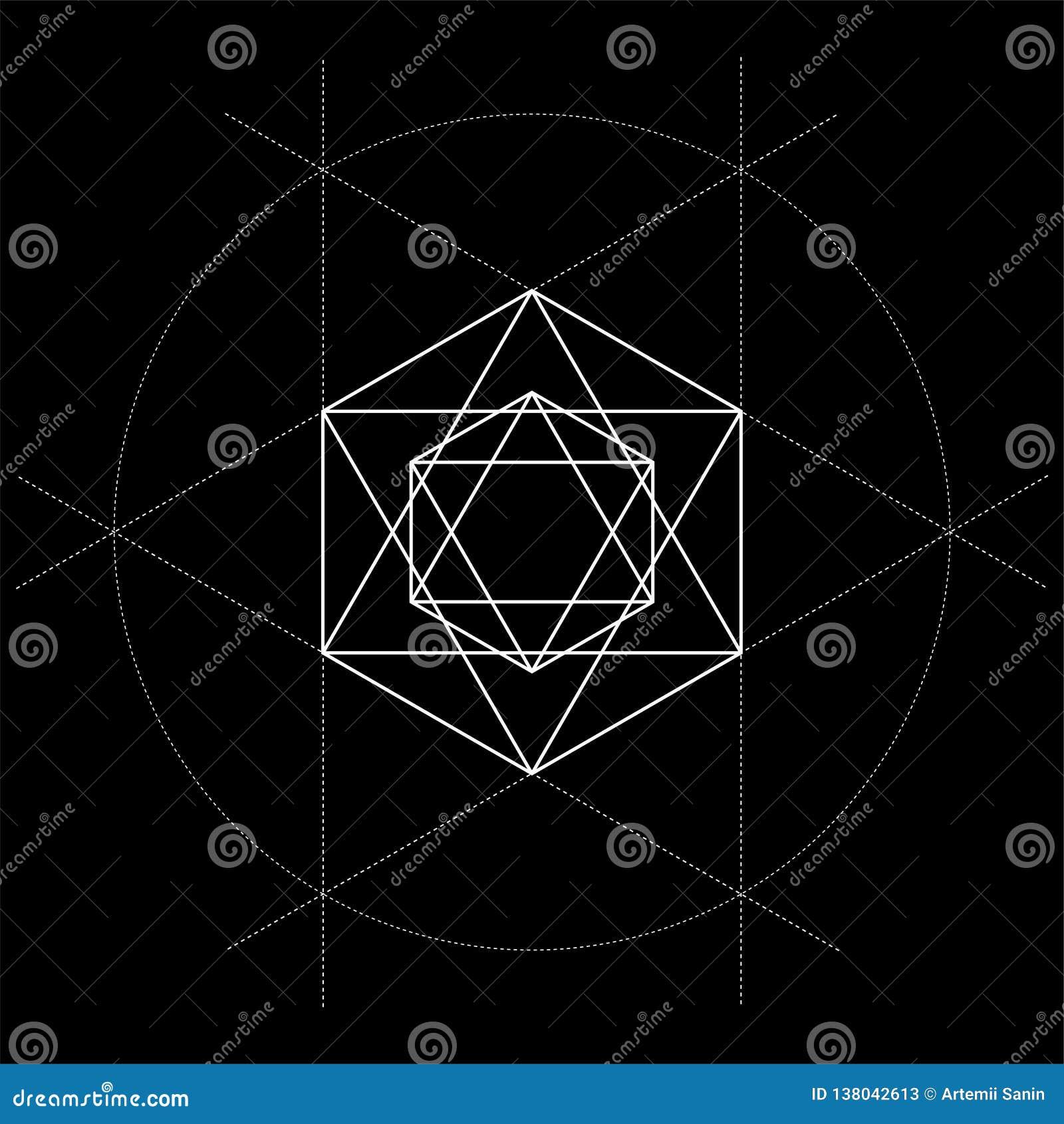 Illustration sacrée de David Star de la géométrie avec des lignes de construction sur le noir