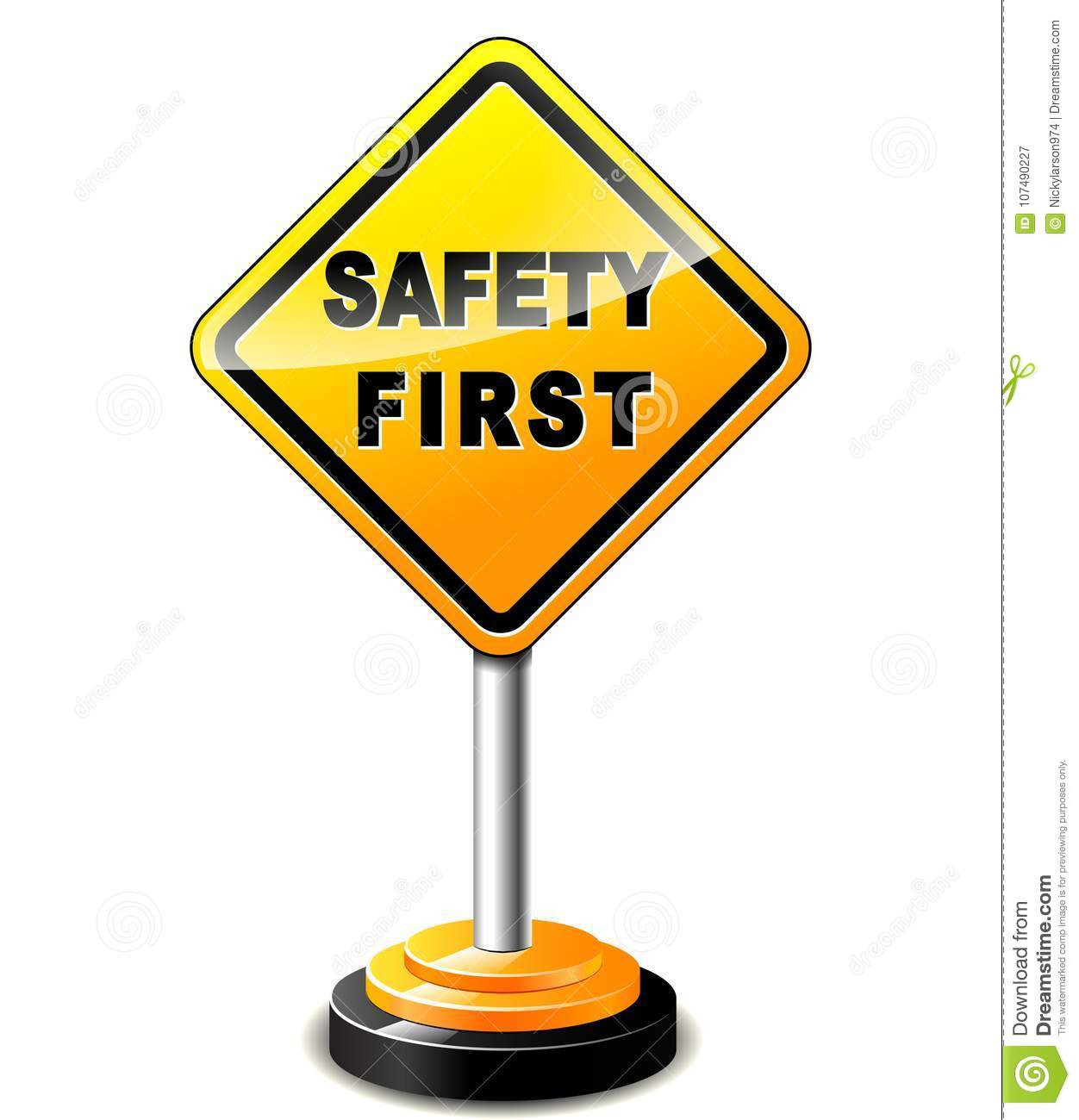 Safety First Sign Stock Vector Illustration Of Vector 107490227